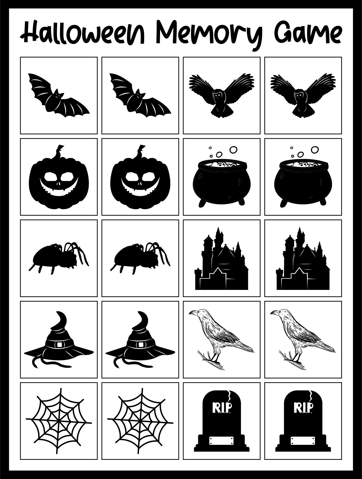 Educational Children Activity Halloween Memory Game For Kids And Toddlers