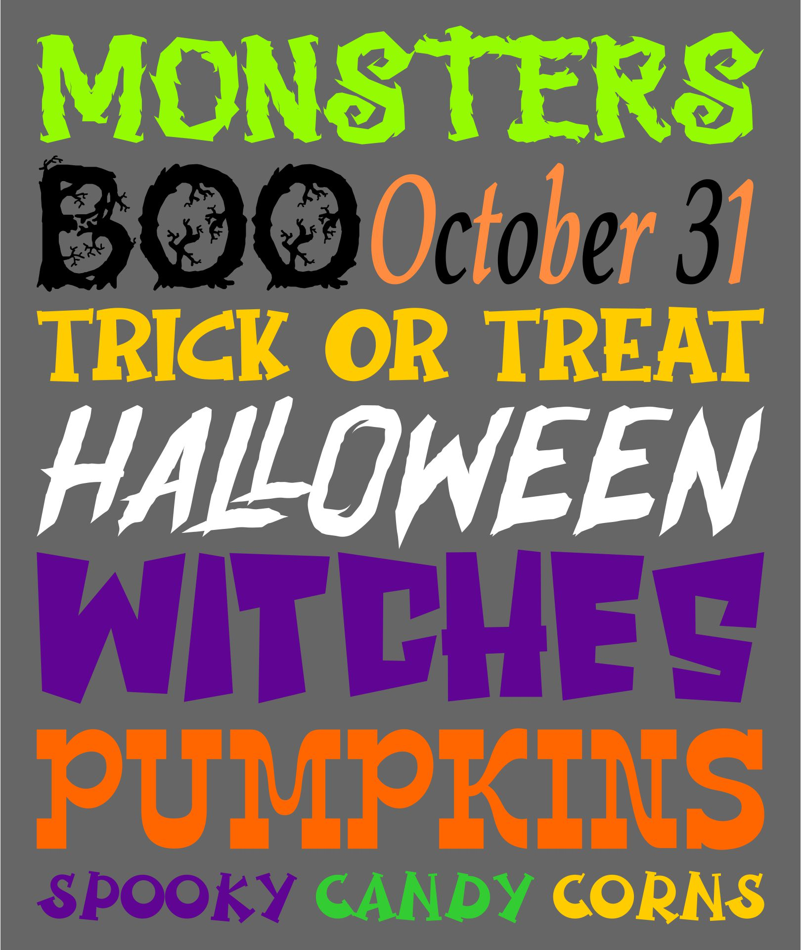 Free Halloween Subway Art Printable Sign