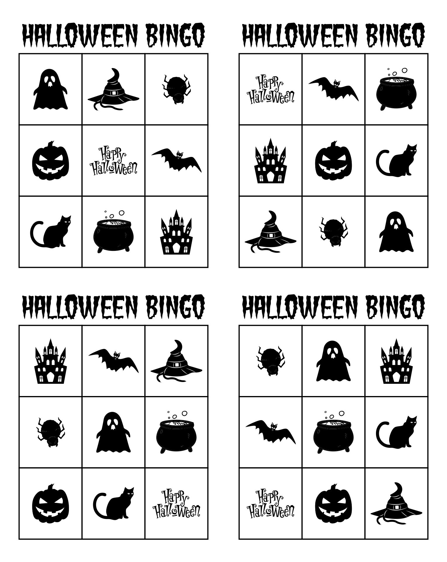 Free Printable Black And White Halloween Bingo Cards