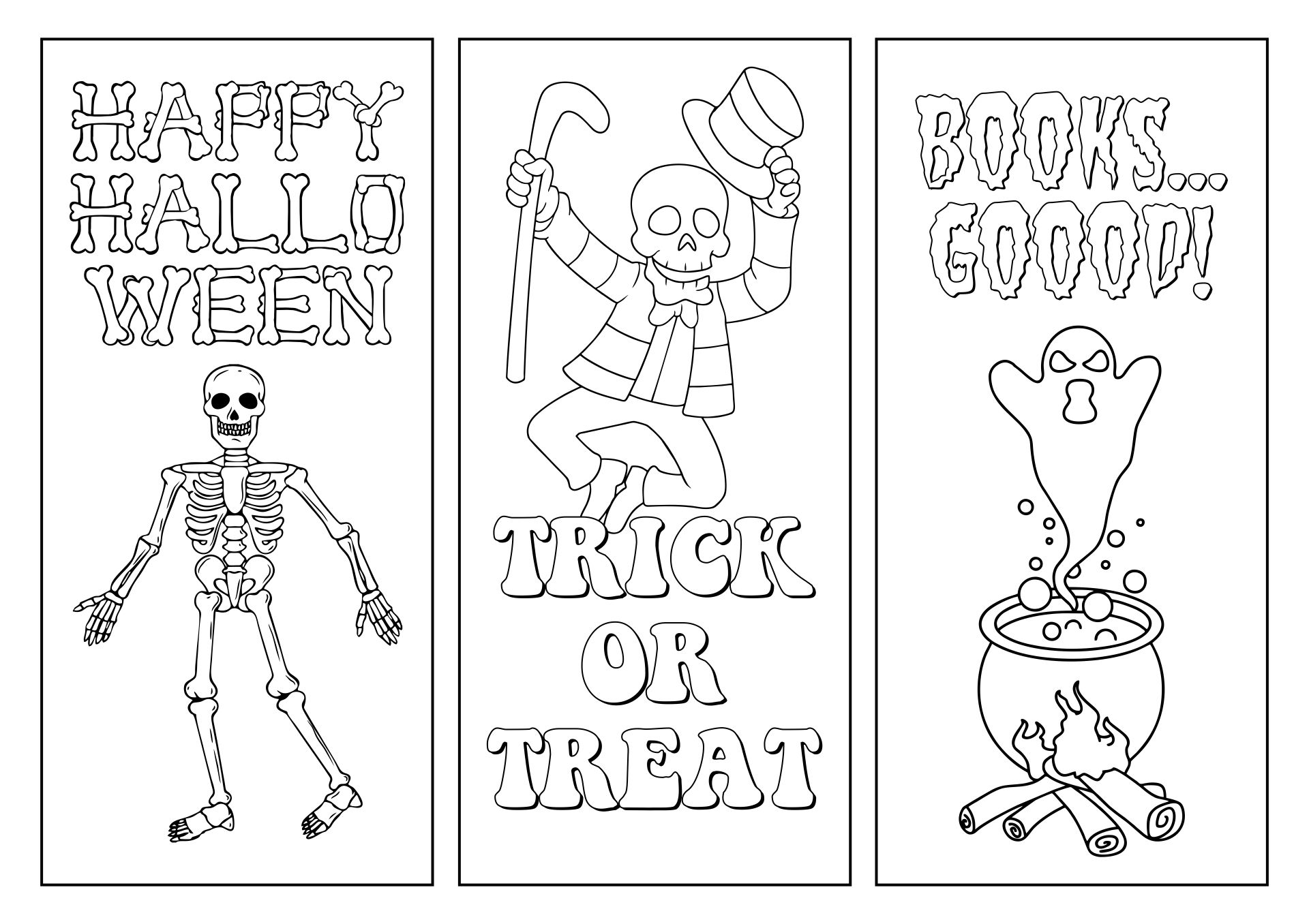 Free Printable Color Your Own Halloween Bookmarks