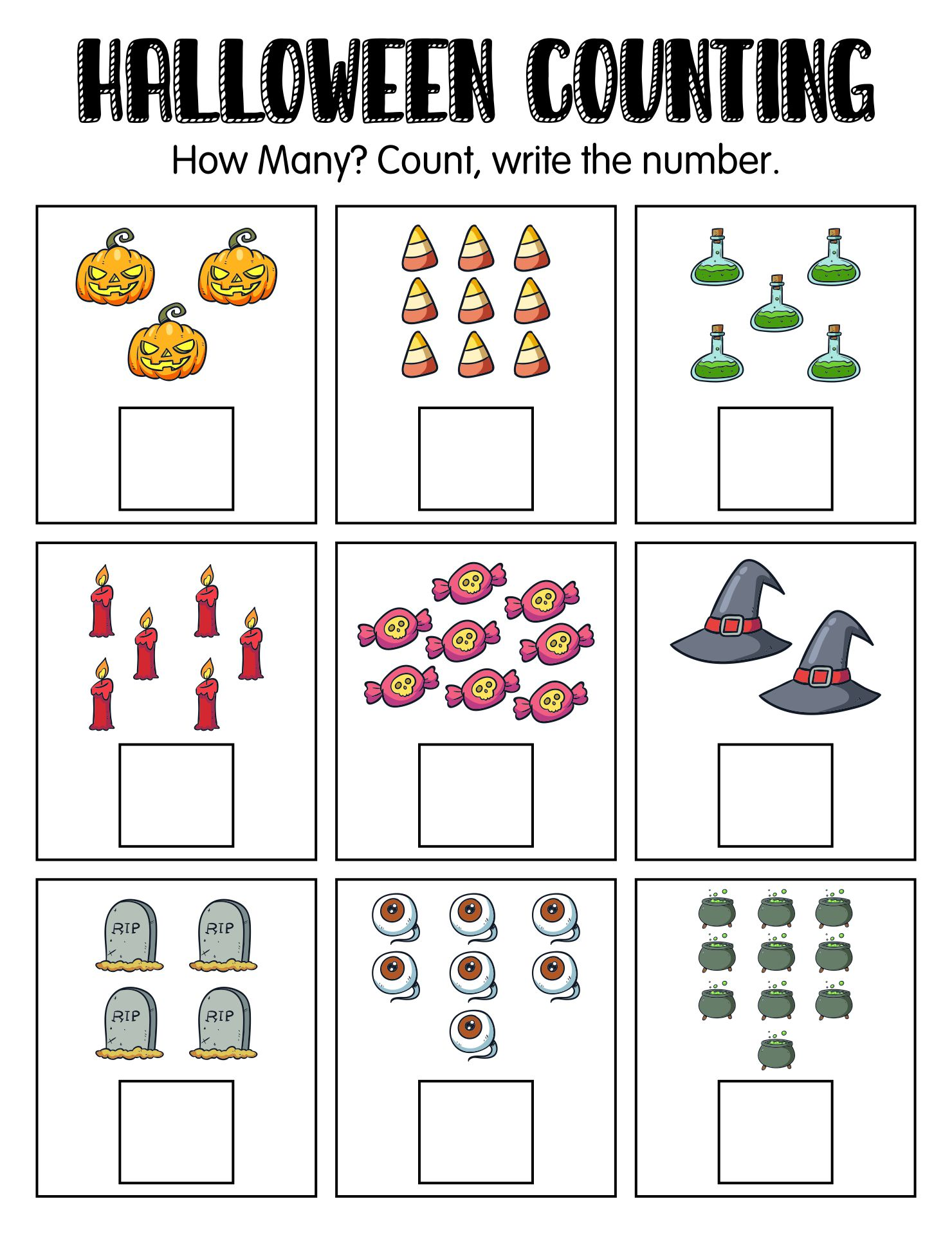 Free Printable Halloween Themed Worksheets For Kids