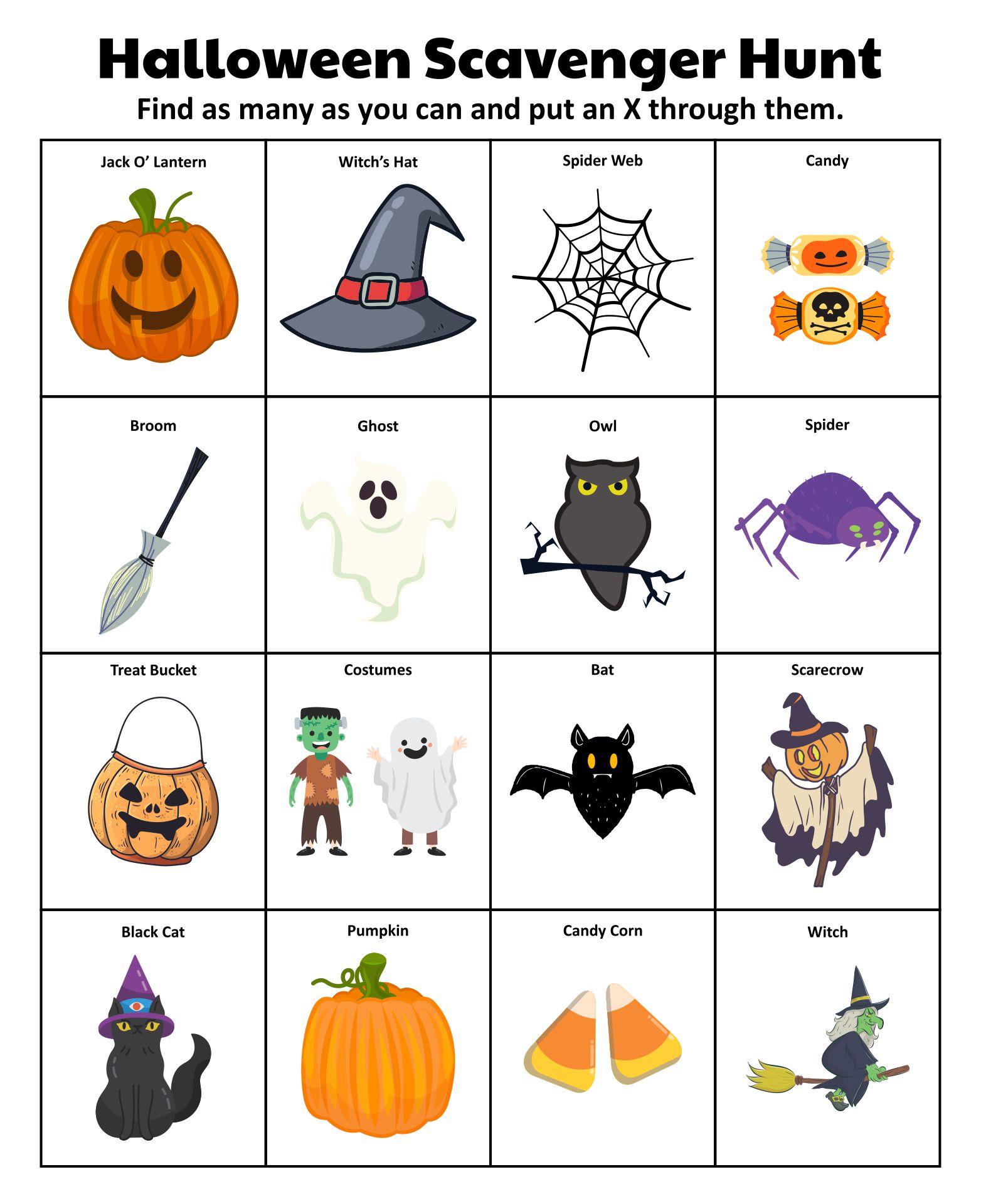 Fun Halloween Scavenger Hunt Printables