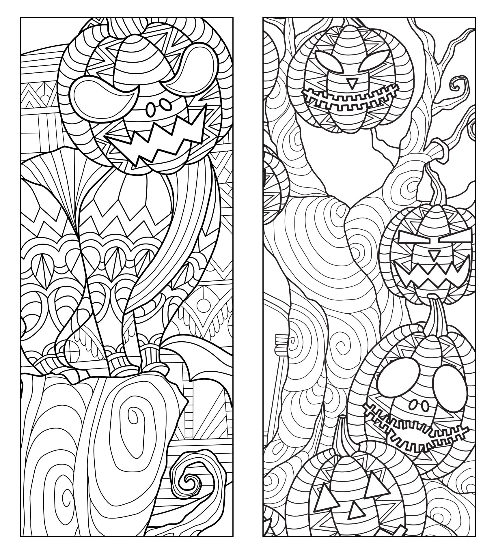 Halloween Bookmarks Adult Coloring Page