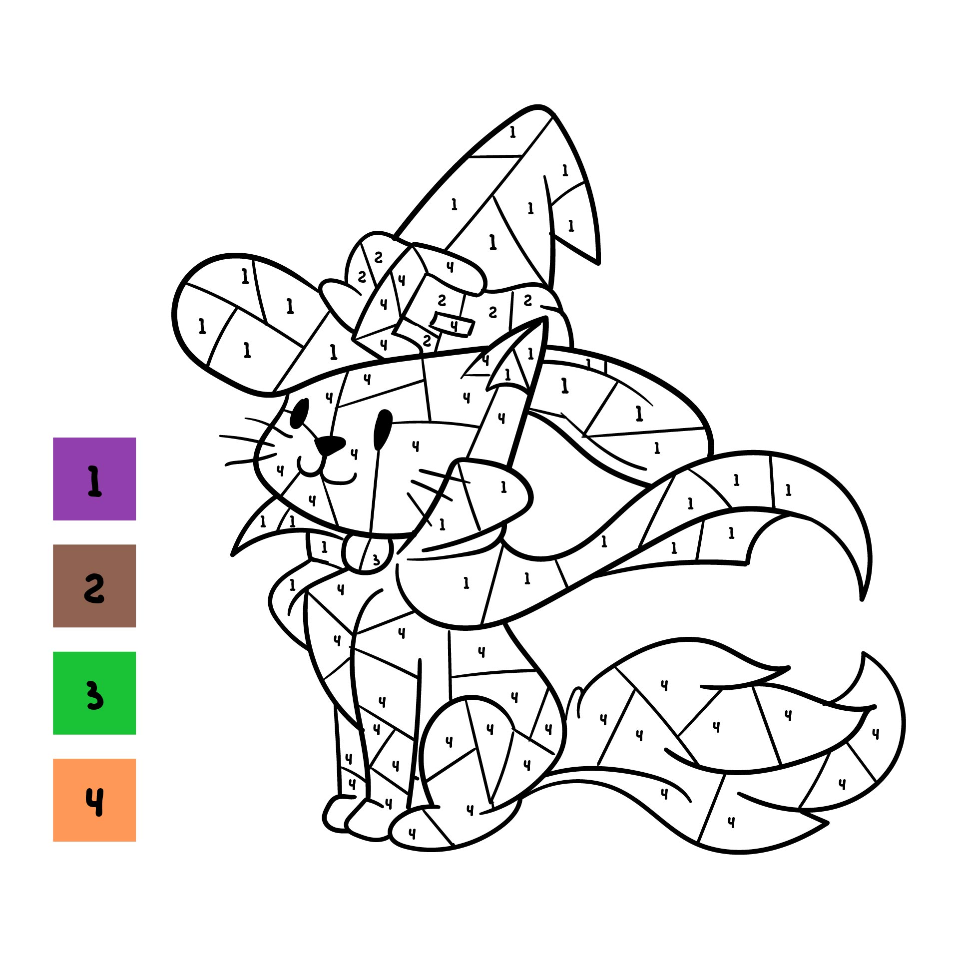 Halloween Color By Number Printable Worksheets