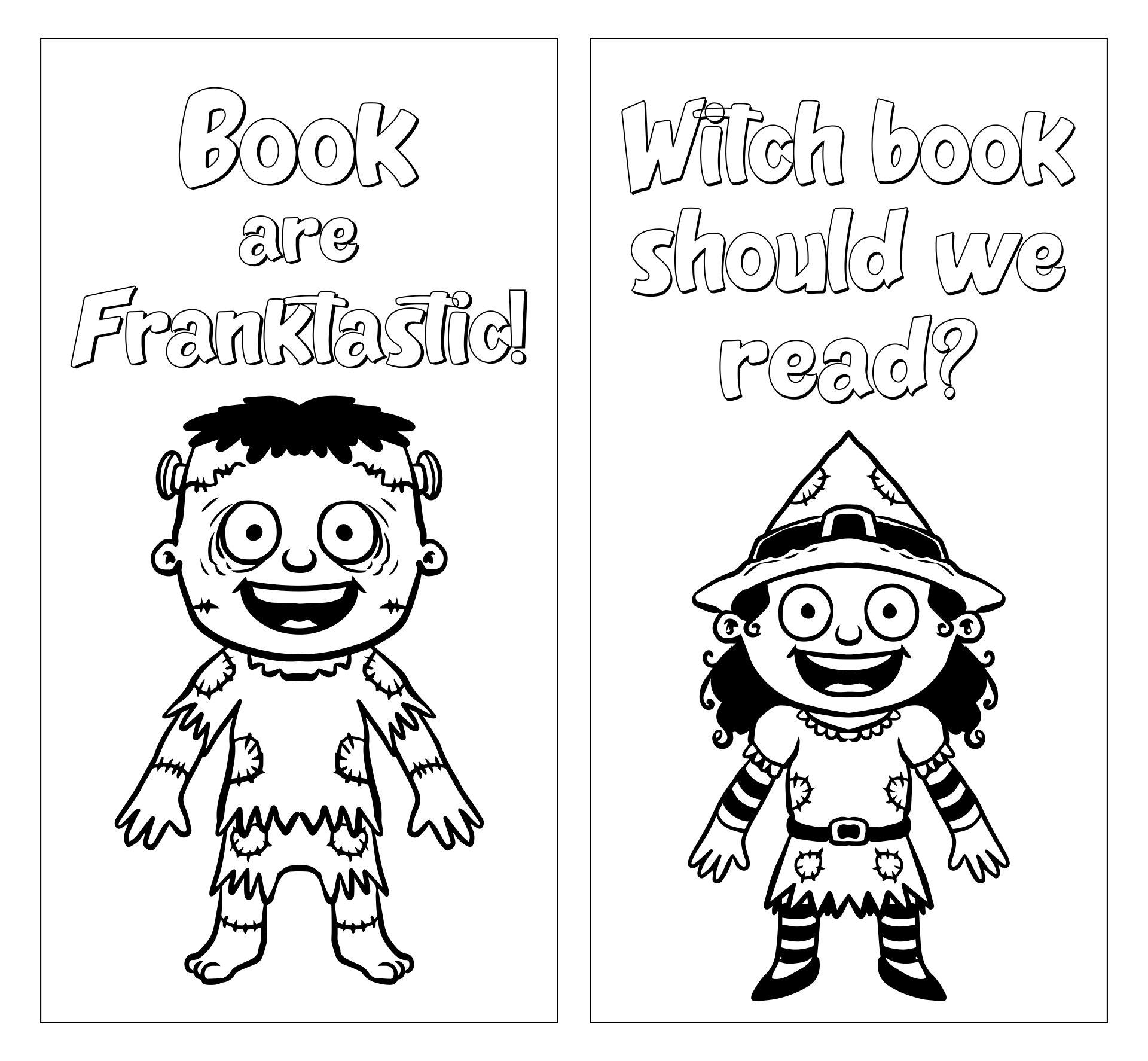 Halloween Coloring Printable Bookmarks