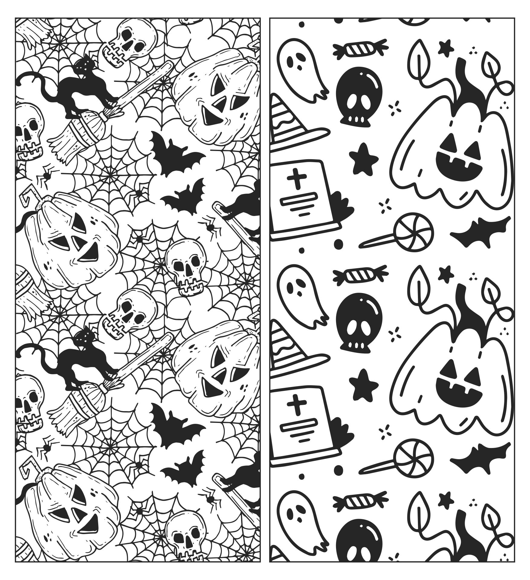 Halloween Doodle Coloring Bookmarks