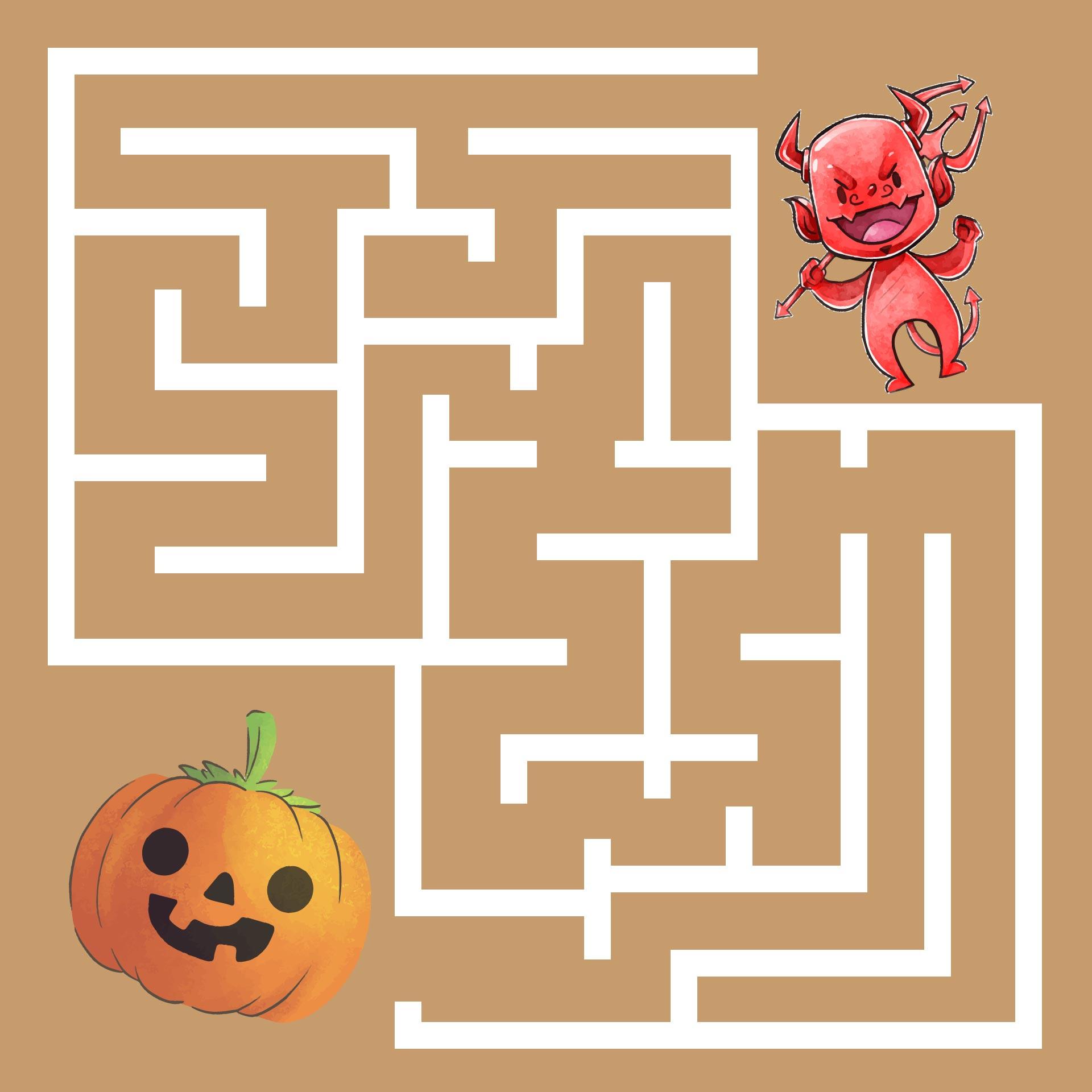 Halloween Maze Red Devil And Pumpkin