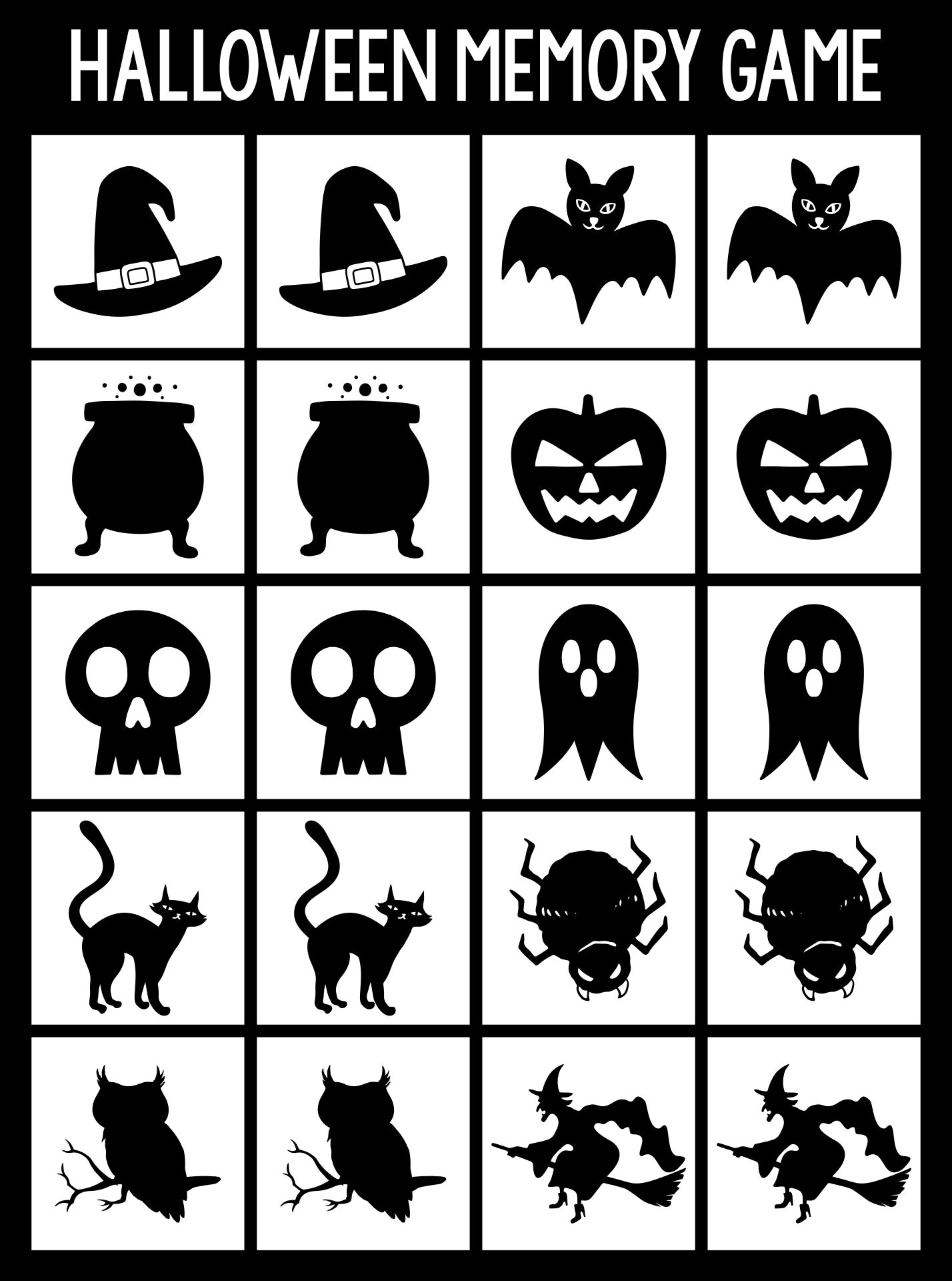 Halloween Memory Game Cards With Traditional Holiday Symbols Matching  Activity