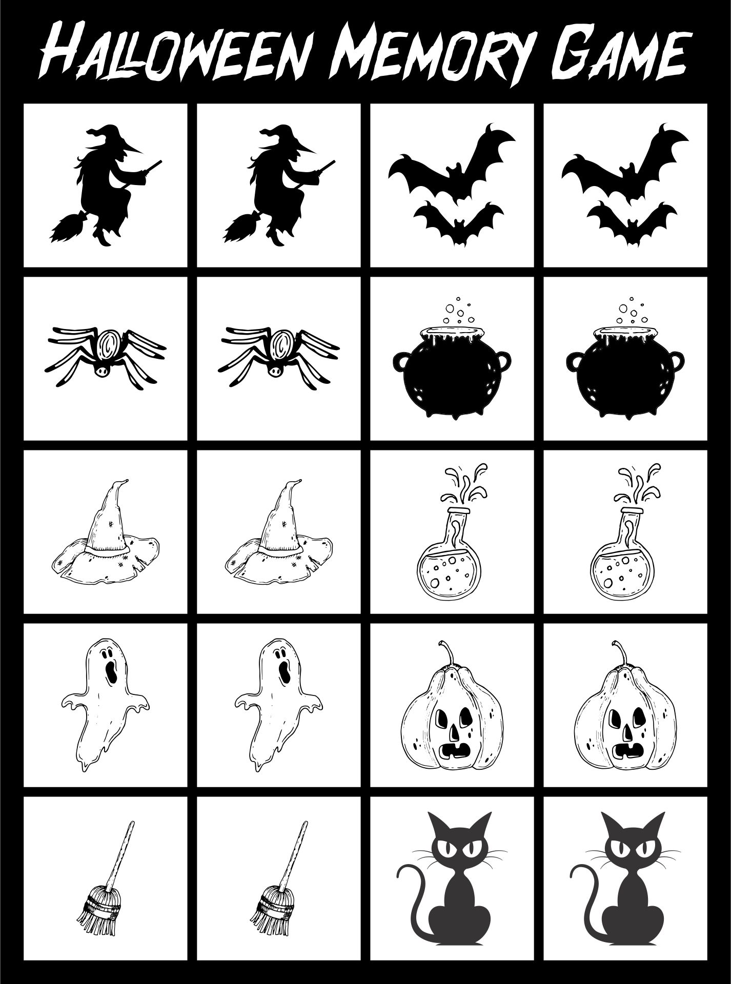 Halloween Memory-Style Game To Print