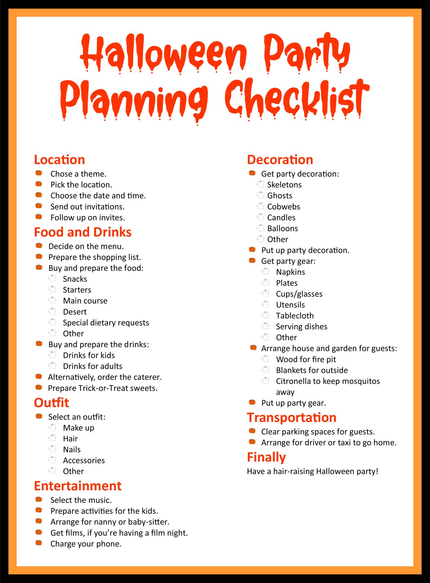 Halloween Party Planner Printables