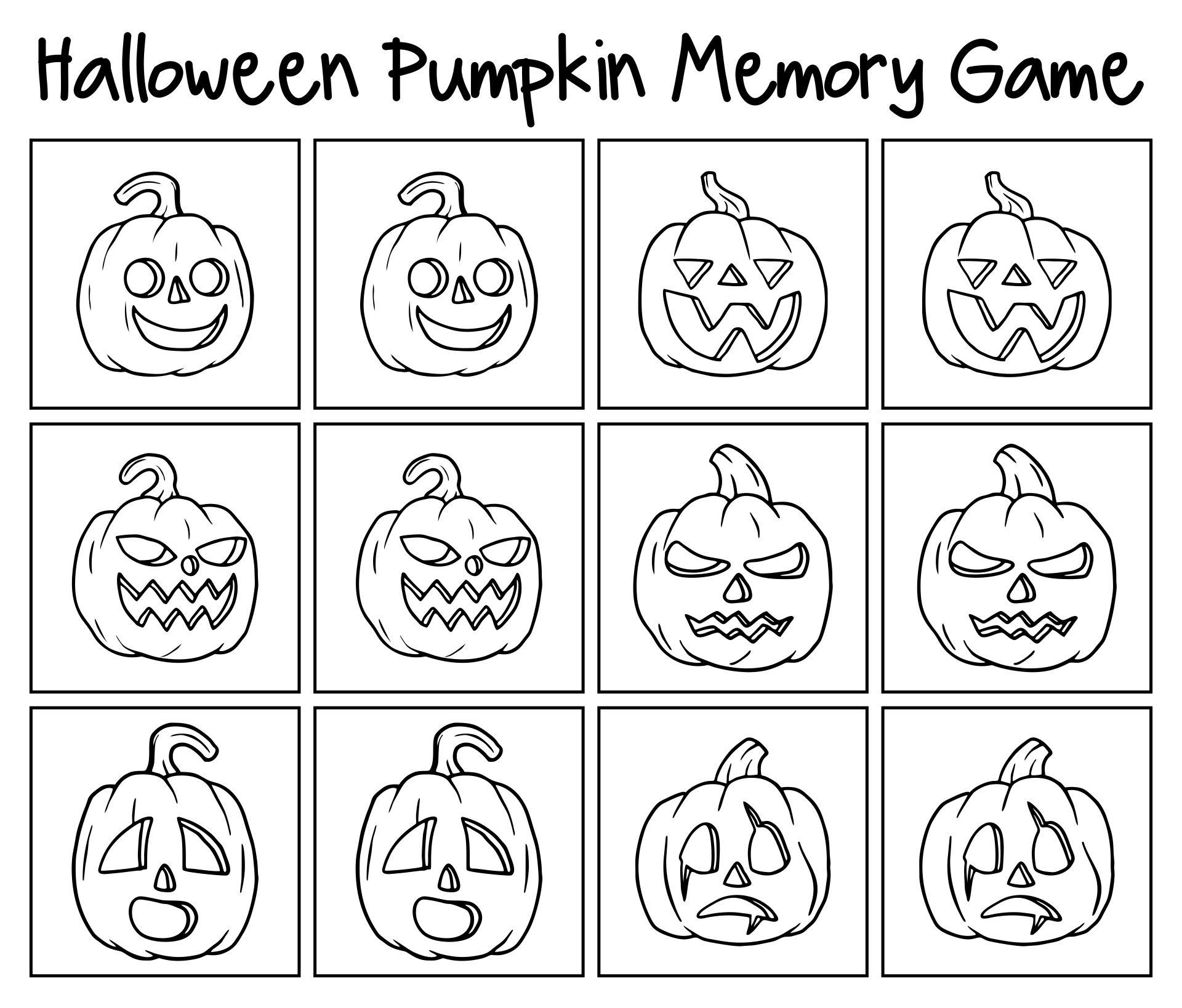 Halloween Pumpkin Memory Game For Kids