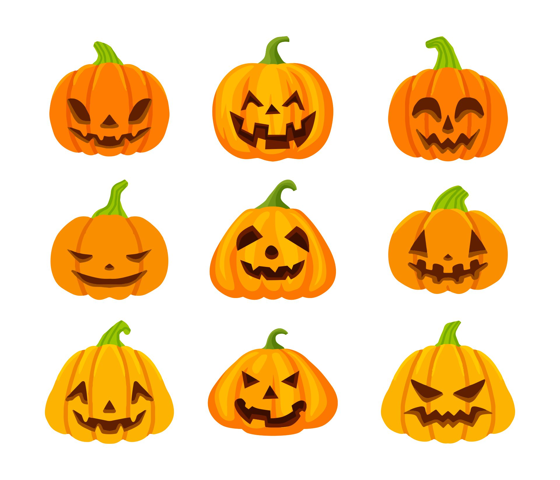 Halloween Pumpkin Set With Cut Out Faces Funny And Spooky