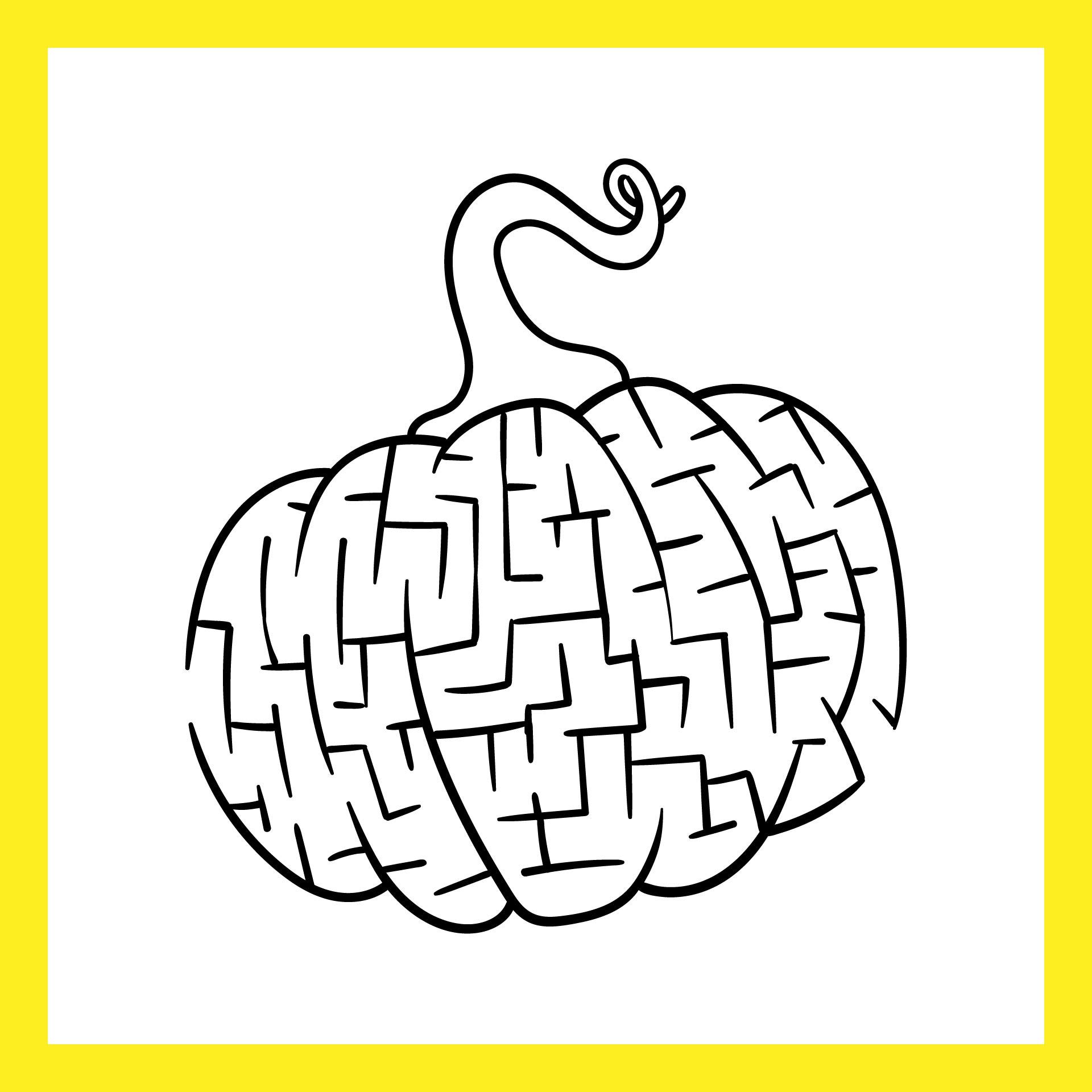 Hand Drawn Pumpkin Farm Maze Free Printable