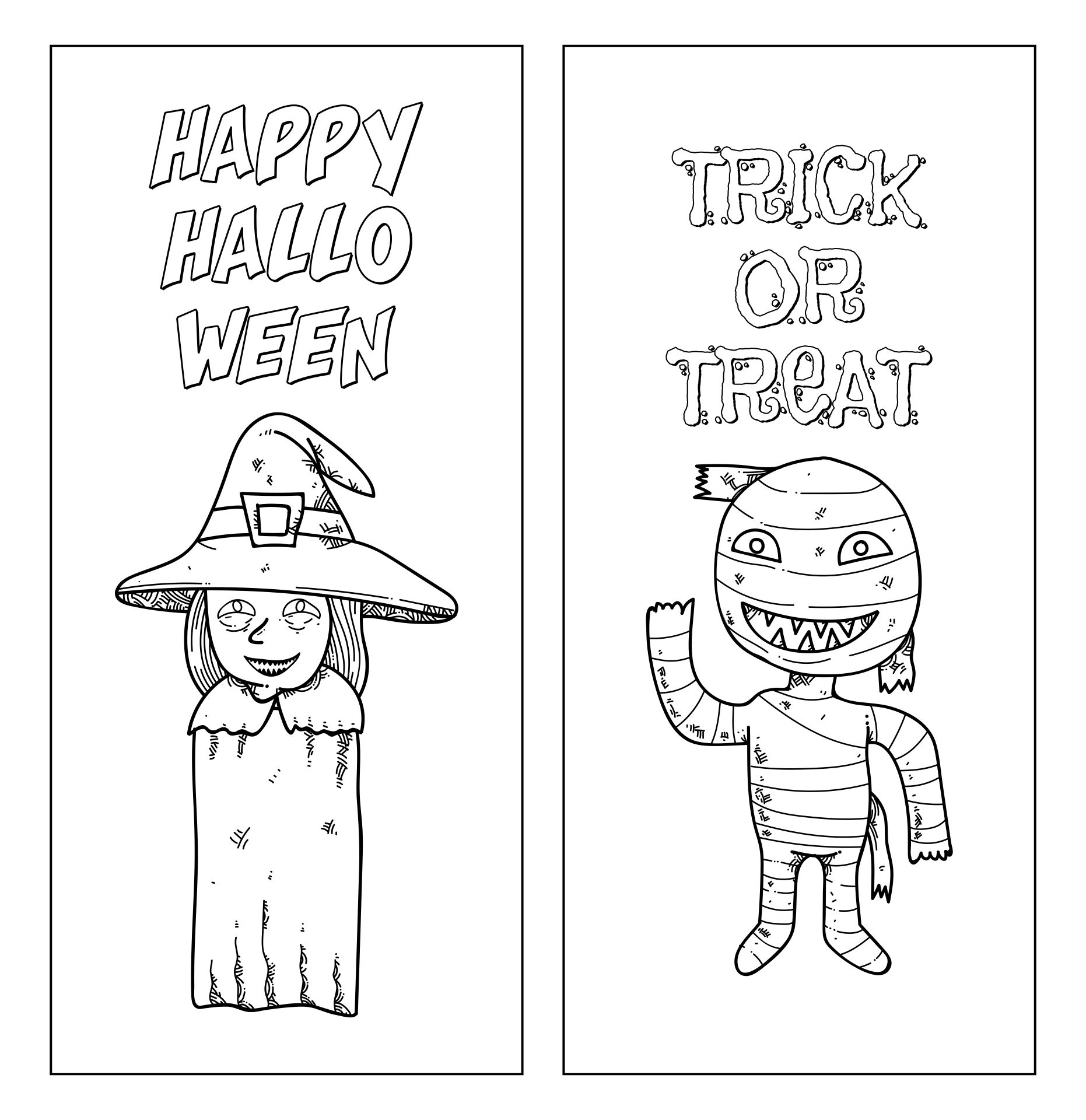 Holidays Printable Bookmark Halloween Coloring Page For Kids