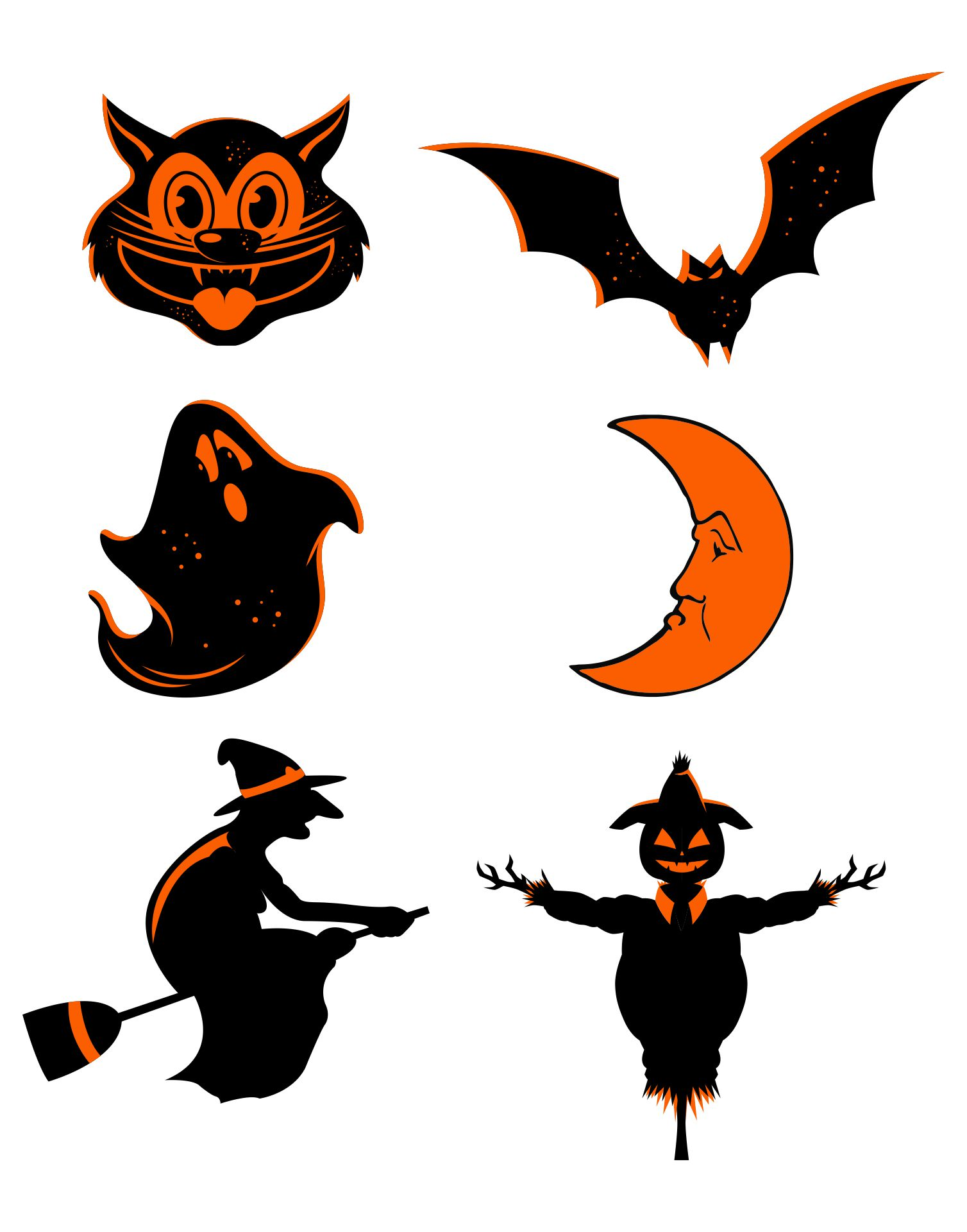 Large Vintage Halloween Banner Decoration With Bat Witch Ghost Moon Scarecrow