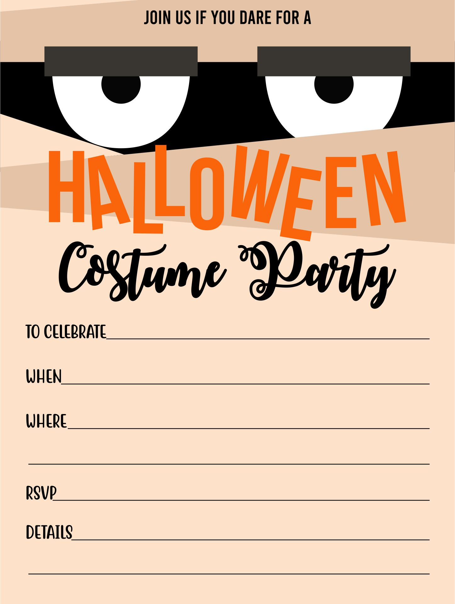 Mummy Halloween Party Invitation Cards For Kids Adults