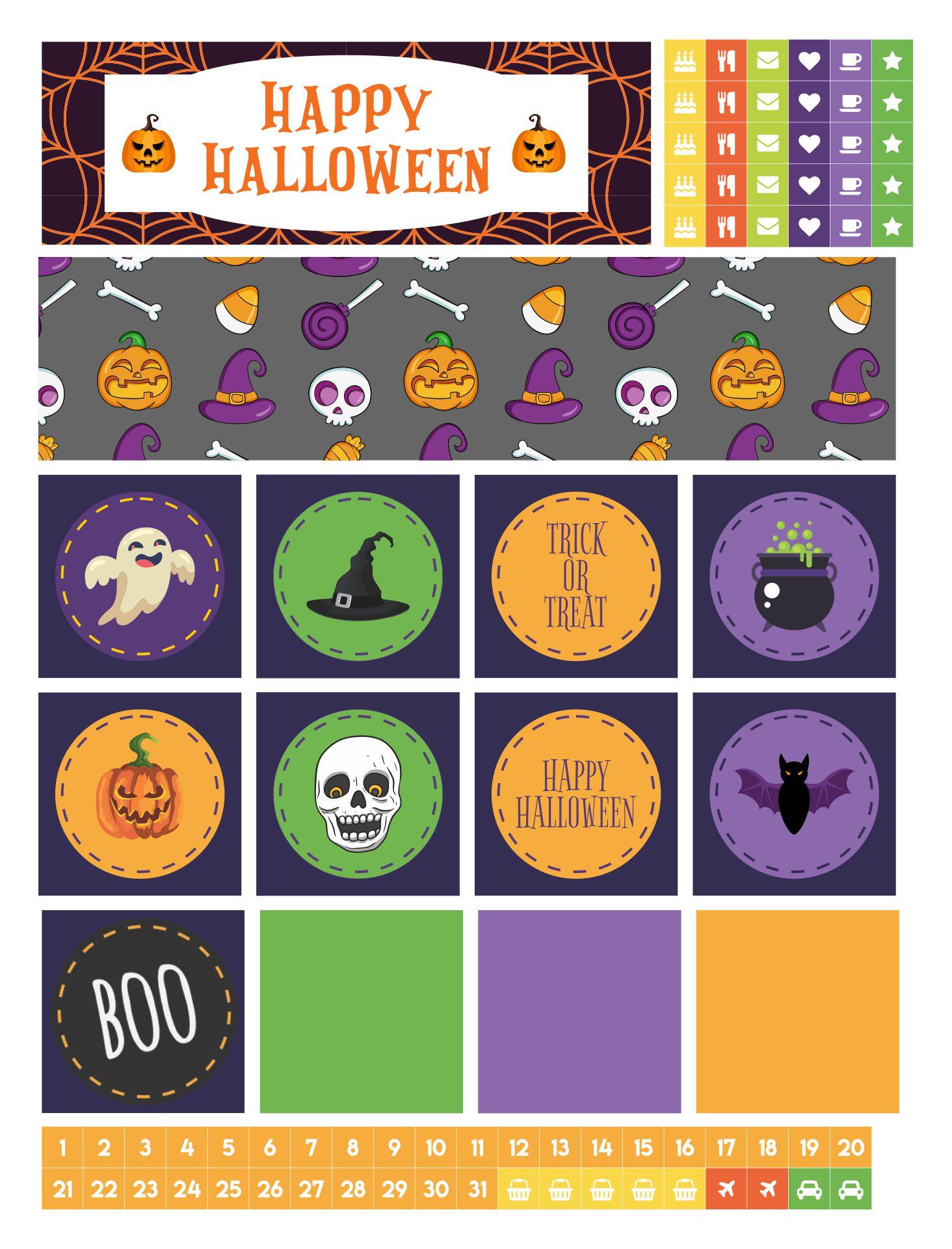 October Halloween Printable Planner Stickers