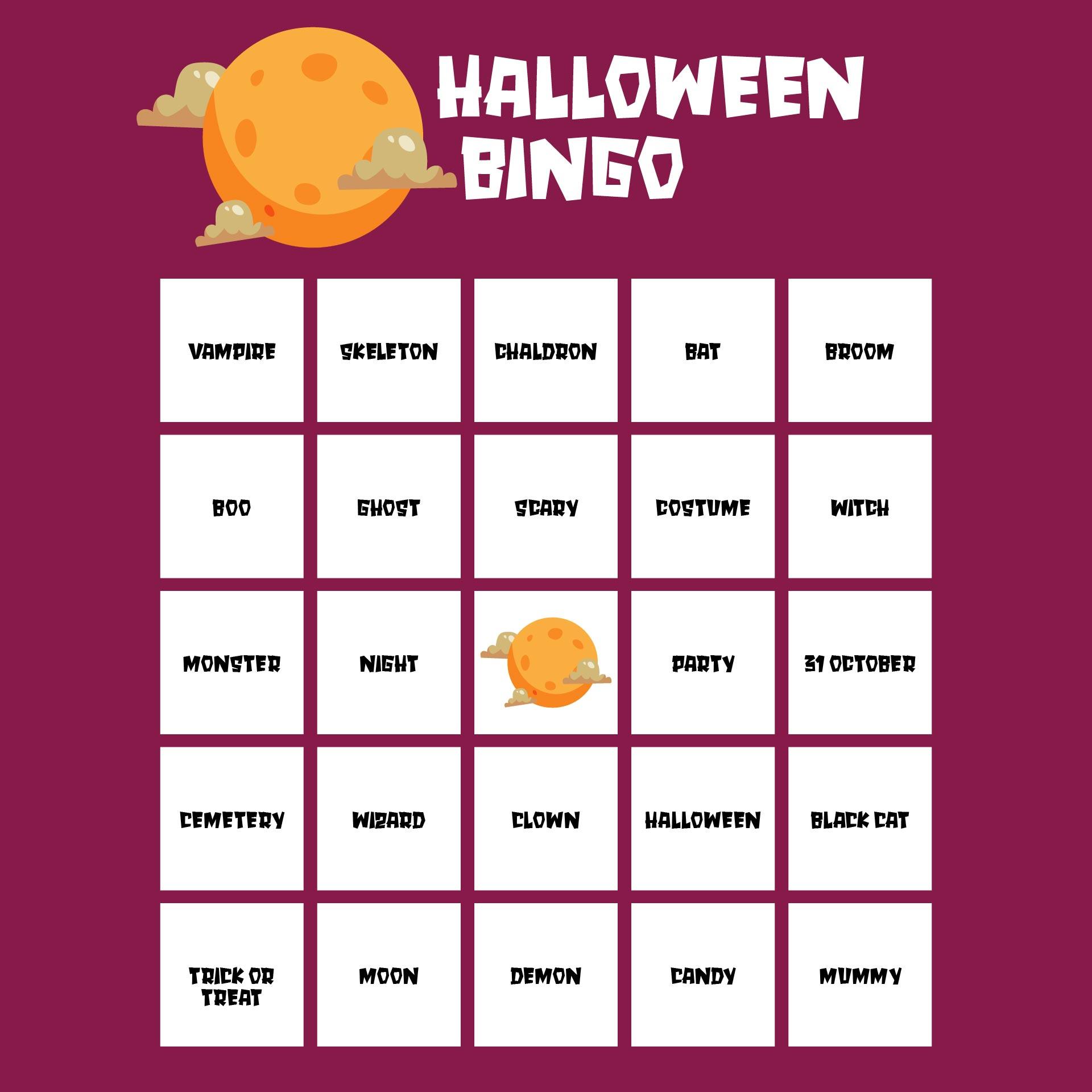 Printable Halloween Bingo Cards For Classroom