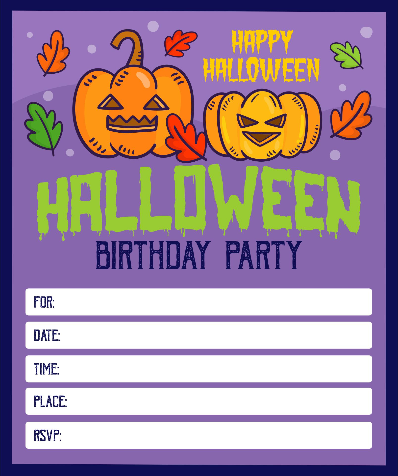 Printable Halloween Birthday Invitations