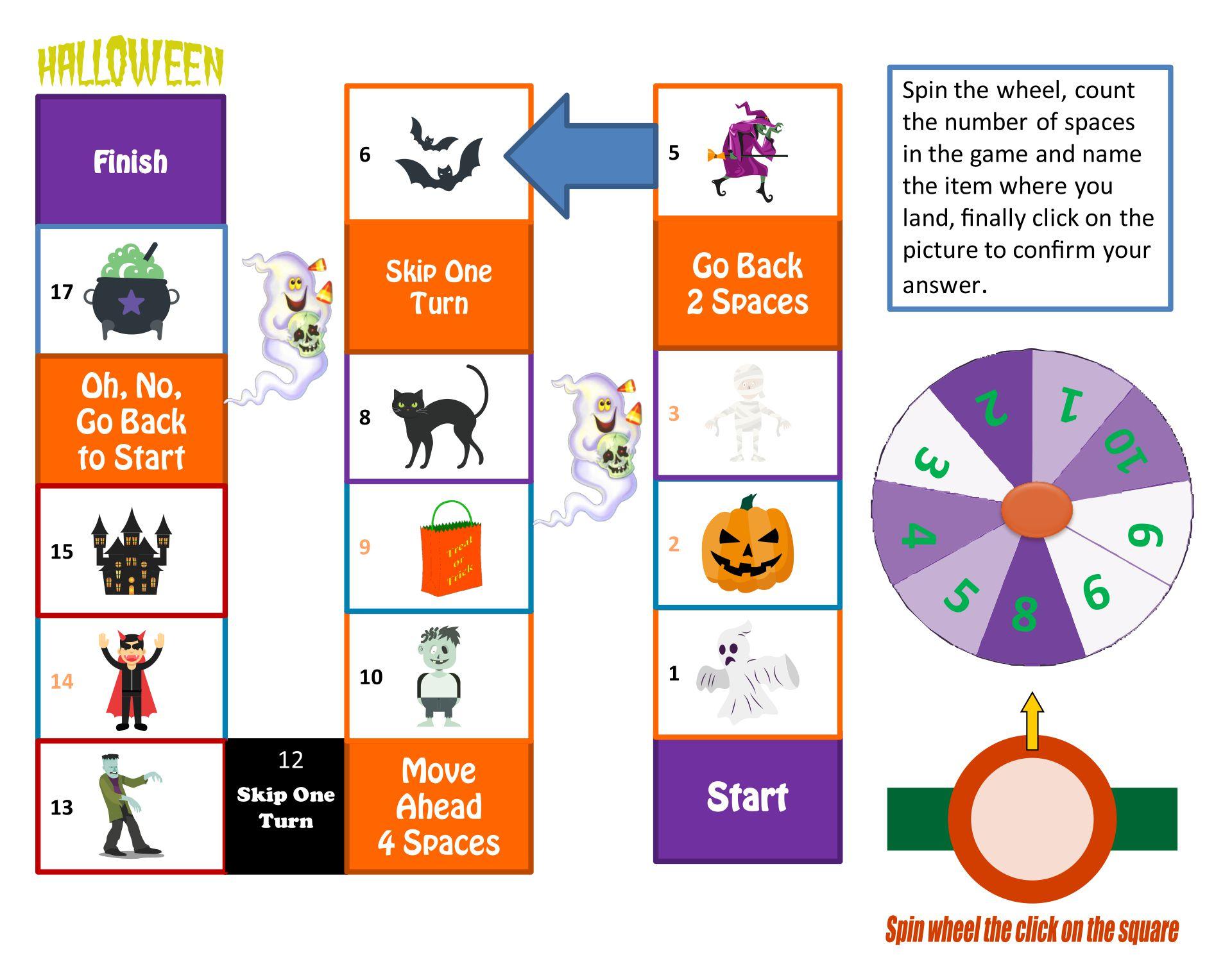 Printable Halloween Board Game Esl