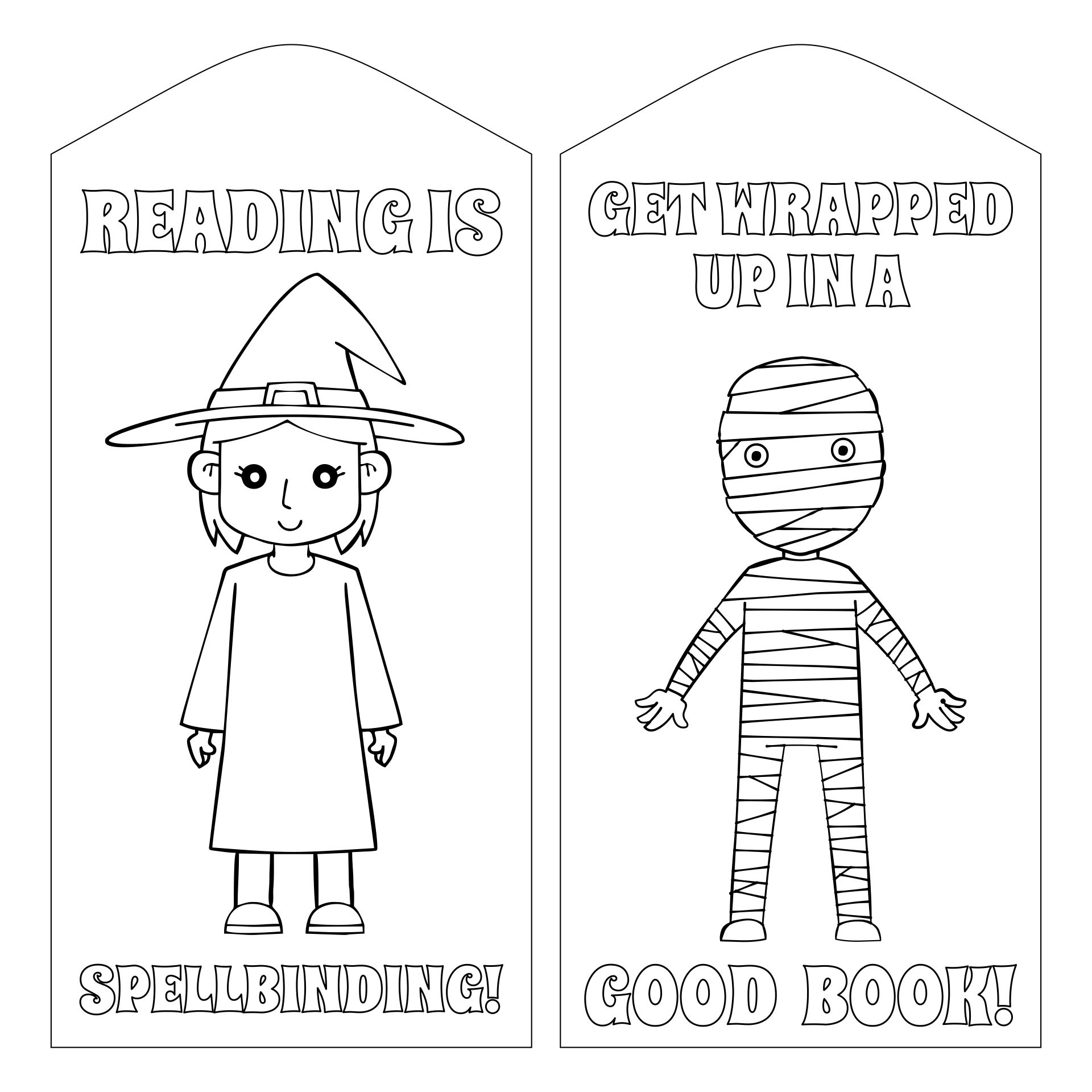 Printable Halloween Coloring Bookmarks Page