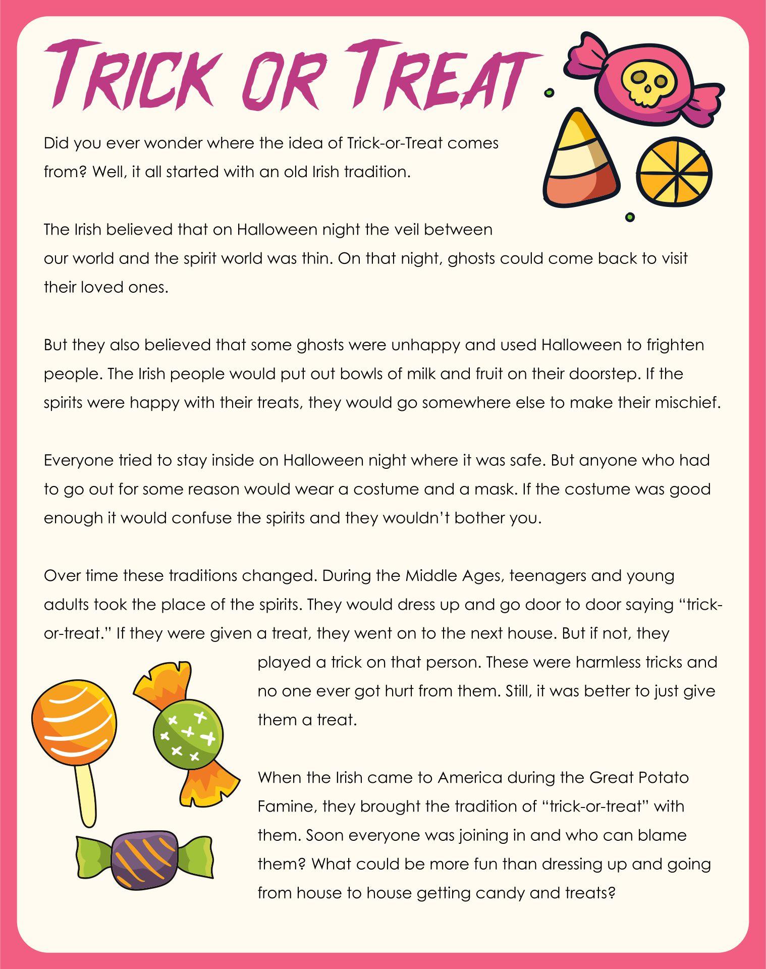 Printable Halloween Stories For Kindergarten