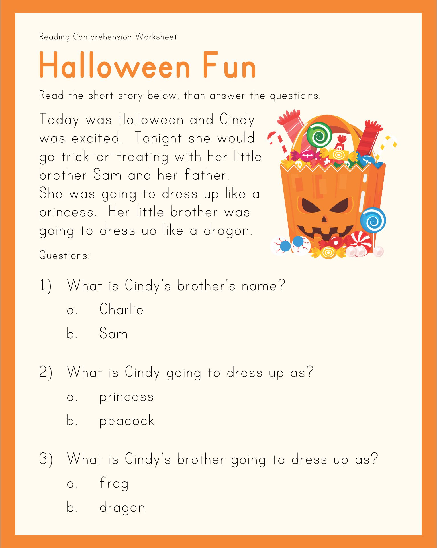 Printable Halloween Stories With Comprehension Questions