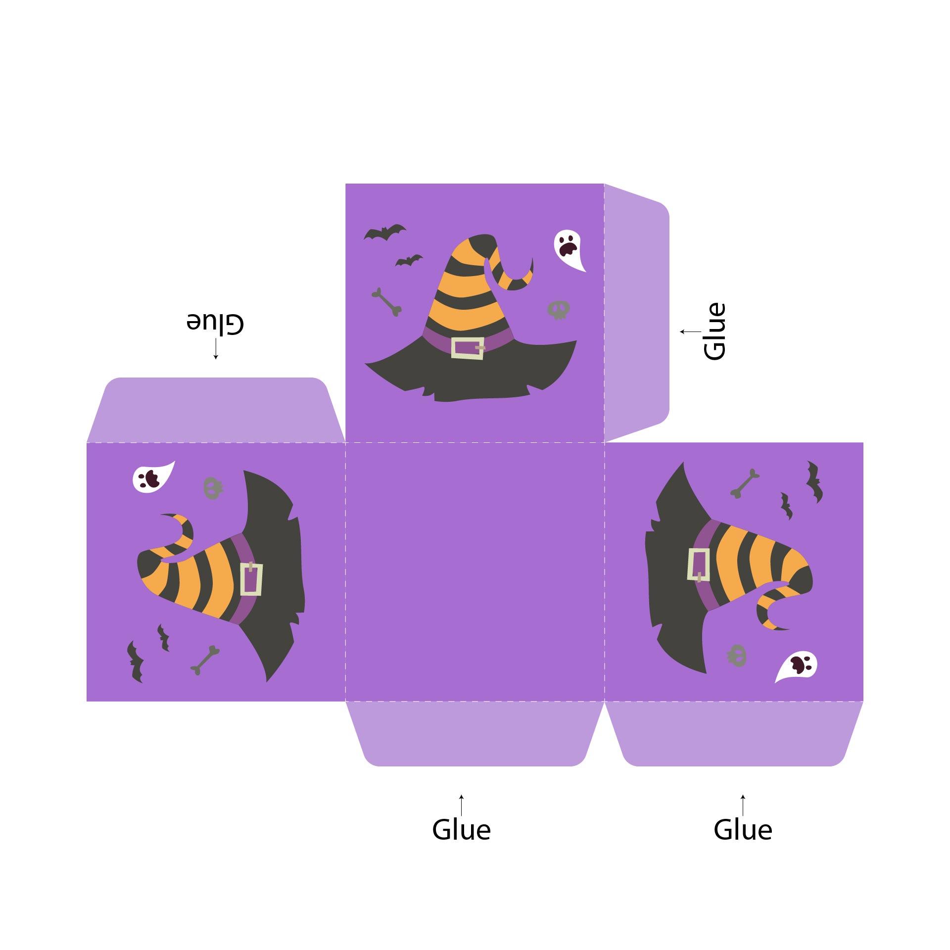 Printable Halloween Themed Cupcake Boxes