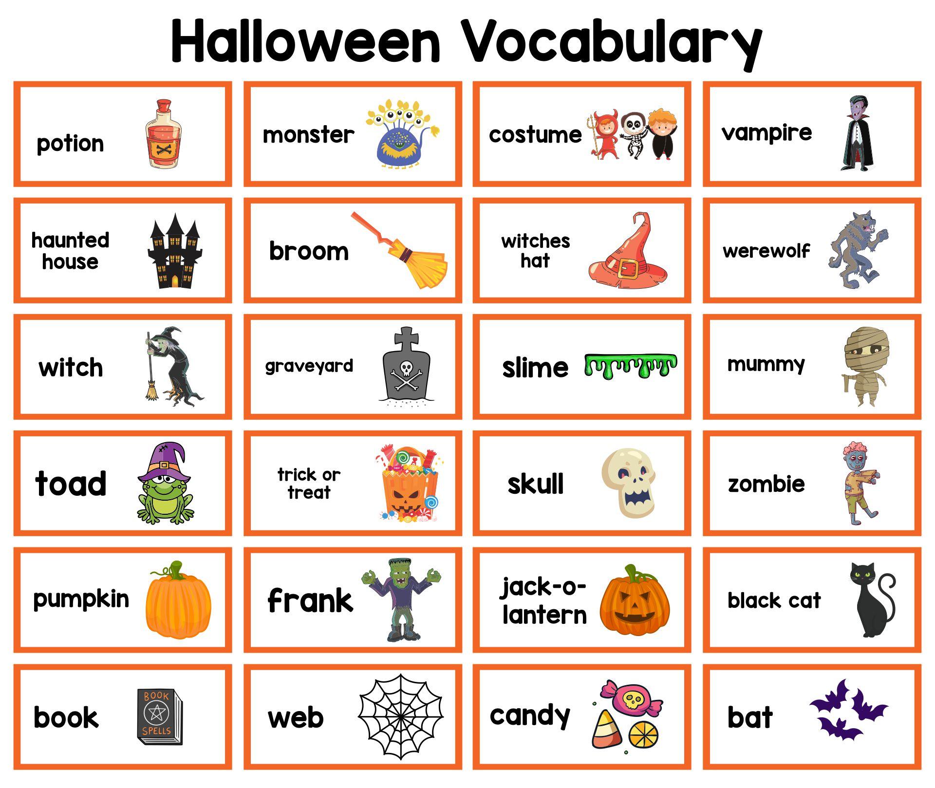 Printable Halloween Vocabulary For Kids Learning English