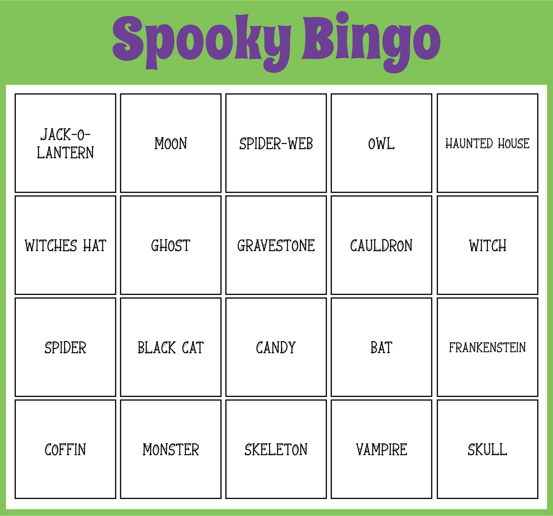 Printable Spooky Halloween Bingo Game 60 Cards Halloween Bingo Words