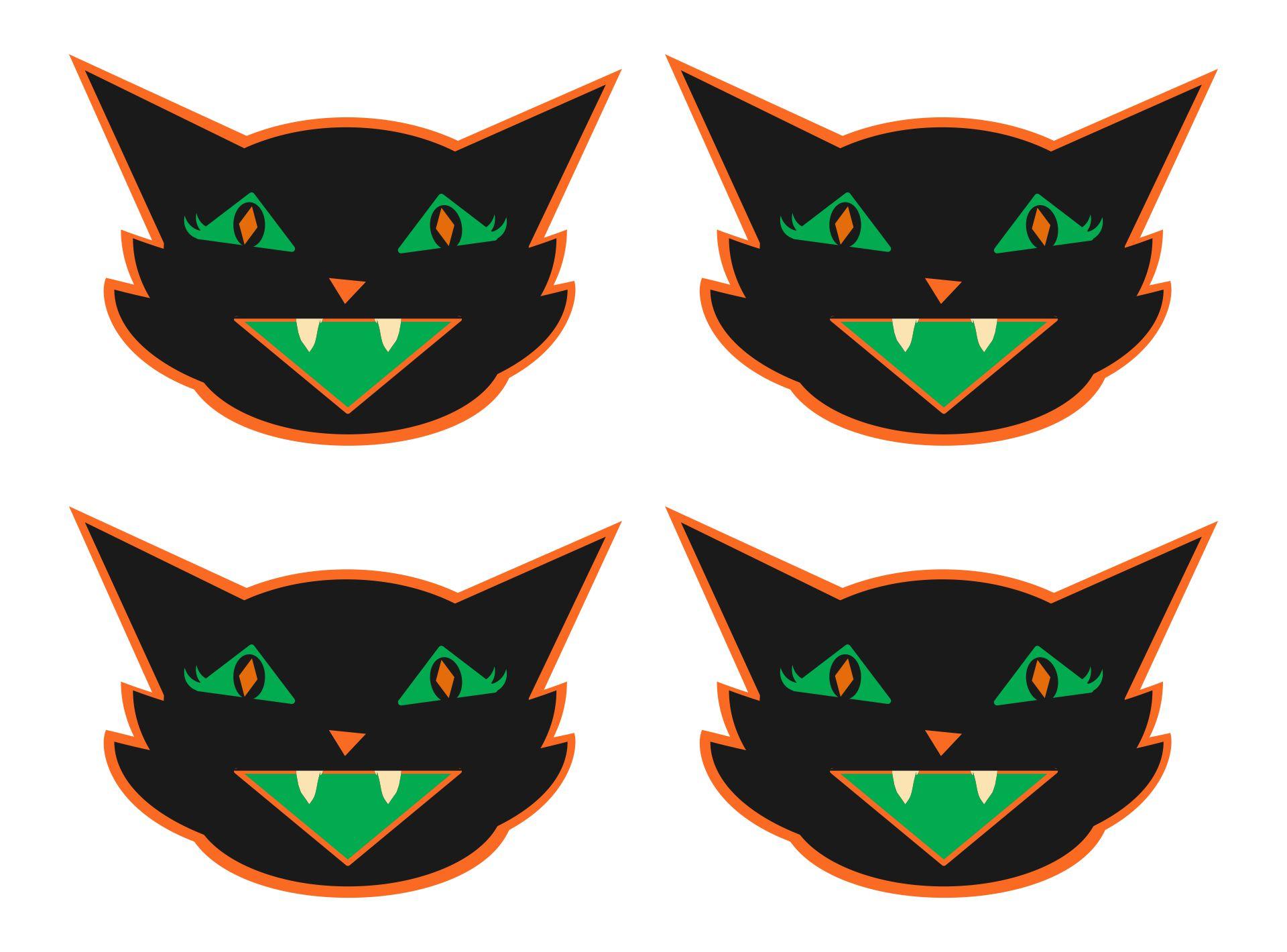 Printable Vintage Halloween Black Cat Banner Printable Retro