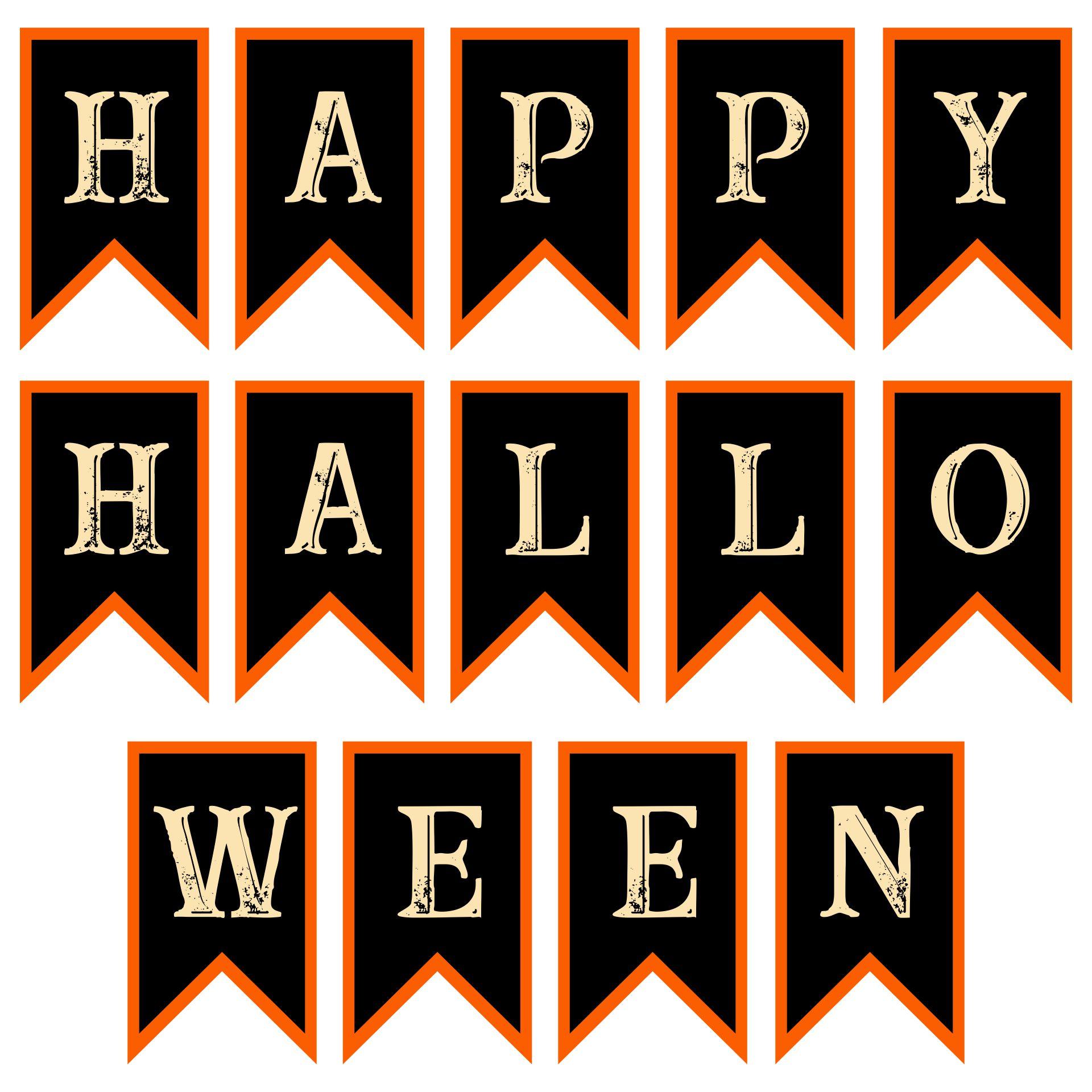 Printable Vintage Style Happy Halloween Pendant Banner