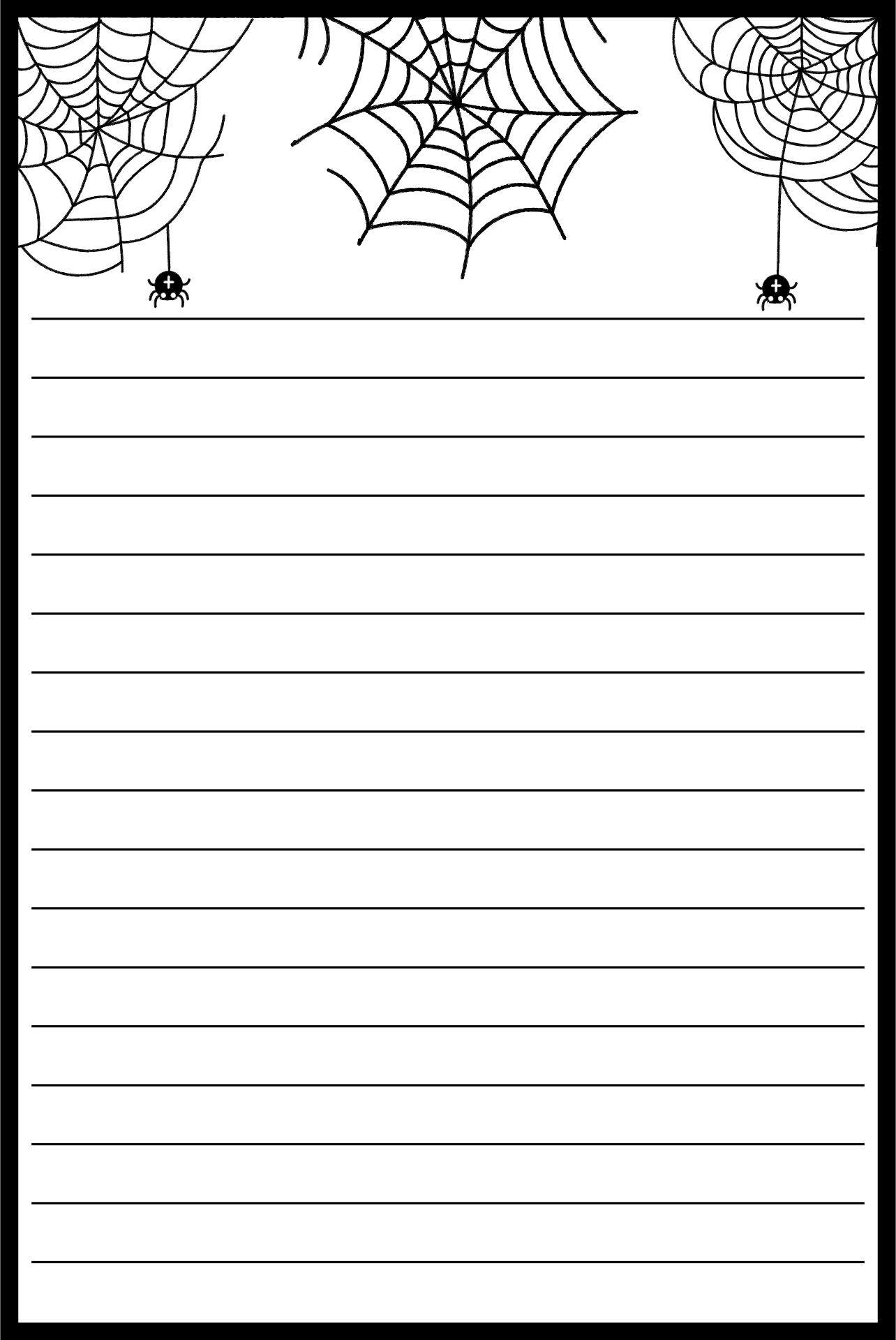 Spider Web Writing Paper For Kids Printable