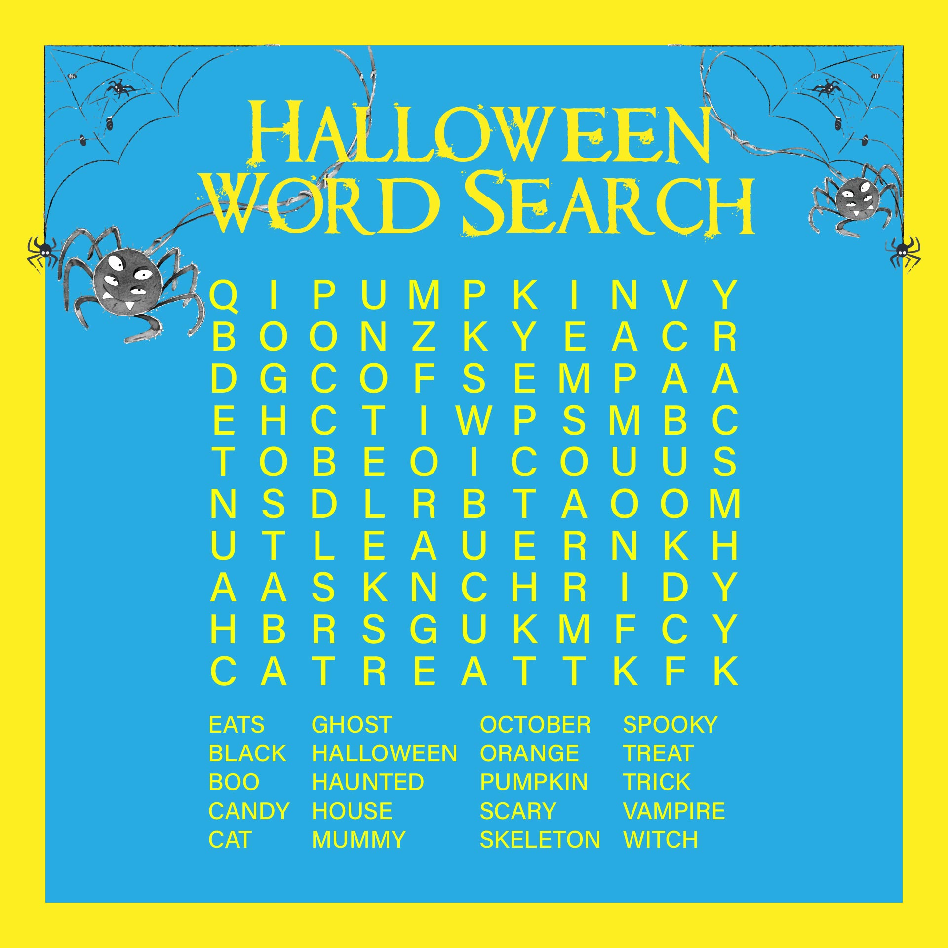 Trick Or Treat Halloween Word Search Free Printable