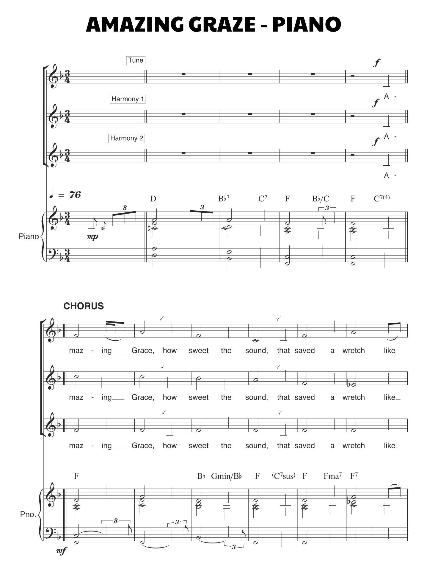 Amazing Grace Sheet Music For Piano