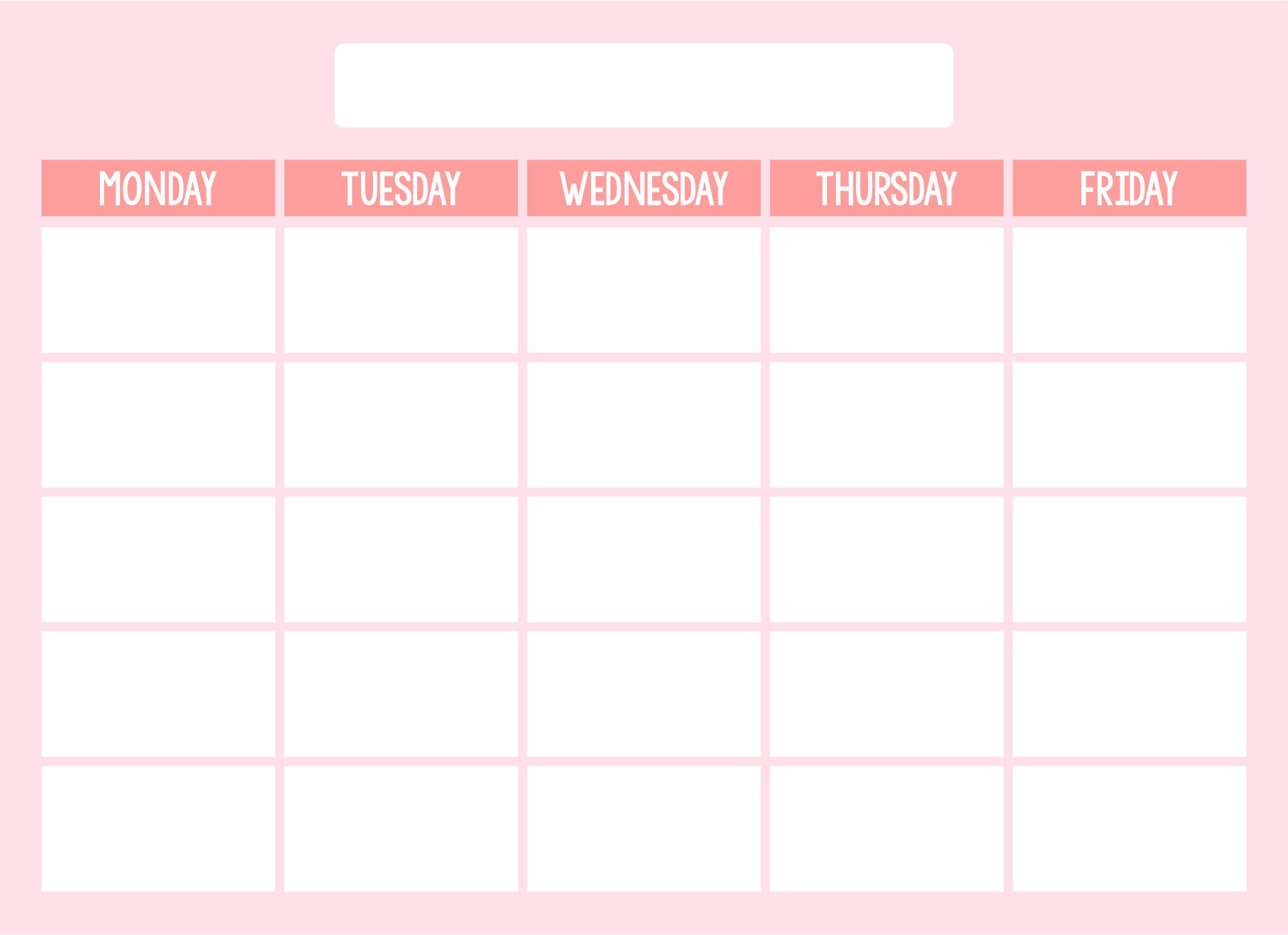 Blank Weekly Calendar Template Monday Friday