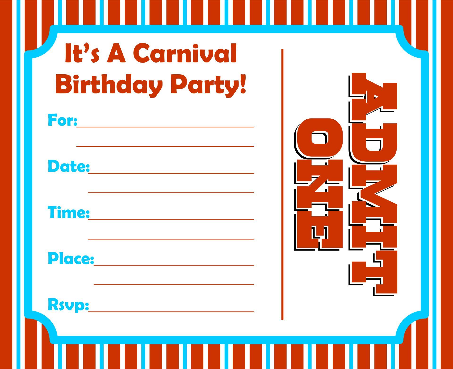 Carnival Ticket Birthday Invitation Template