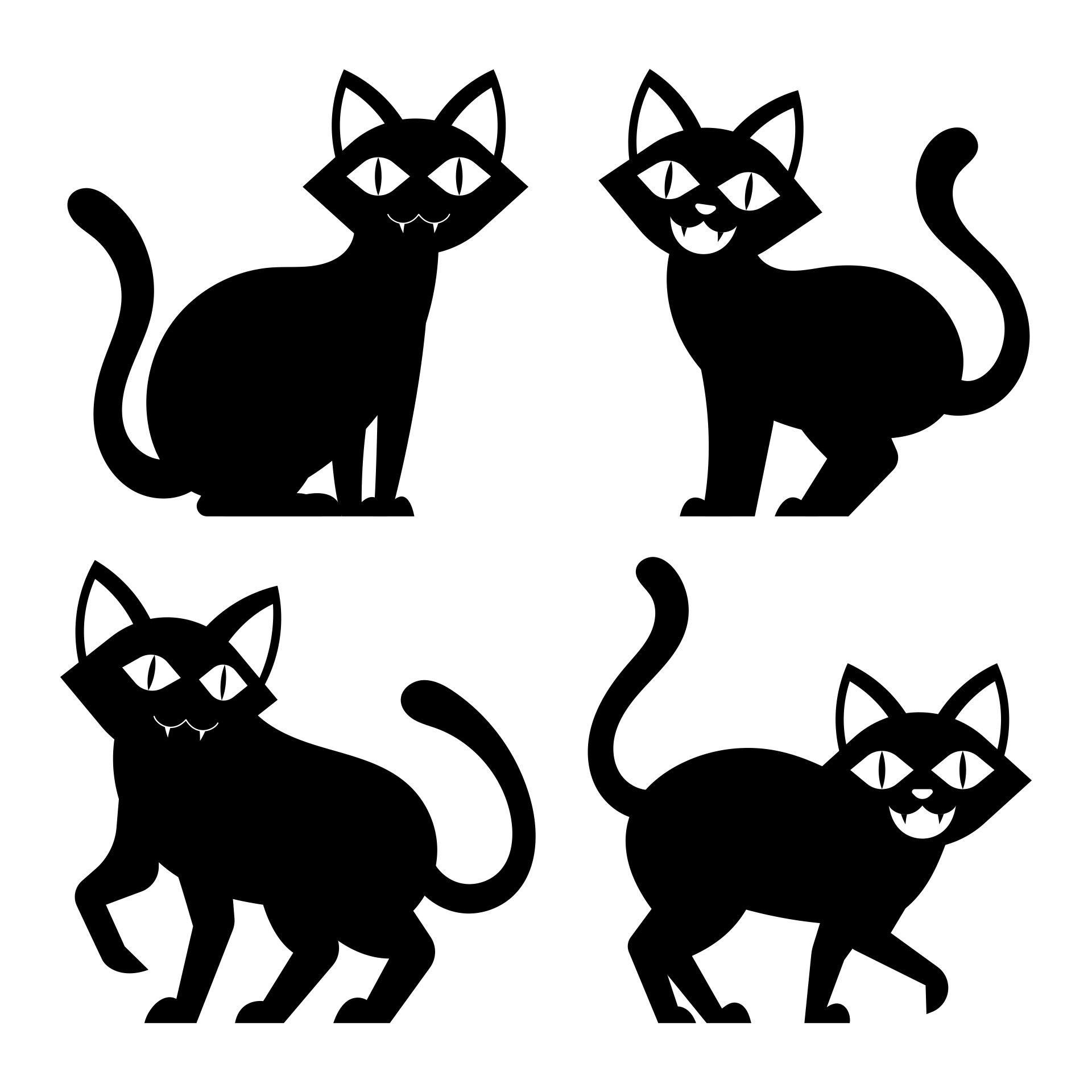 Cute Halloween Cat Silhouette