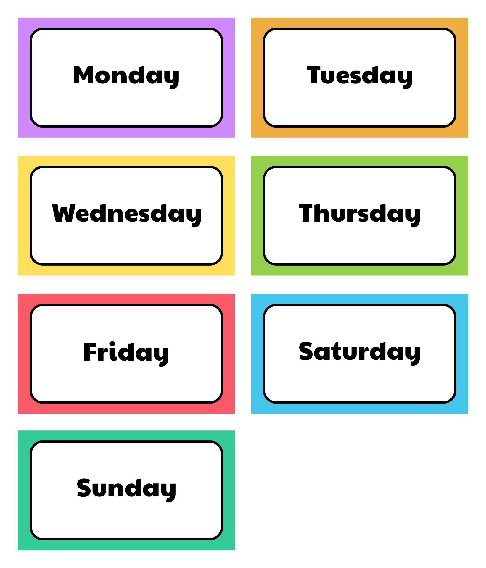 Days Of The Week Printables For Preschool