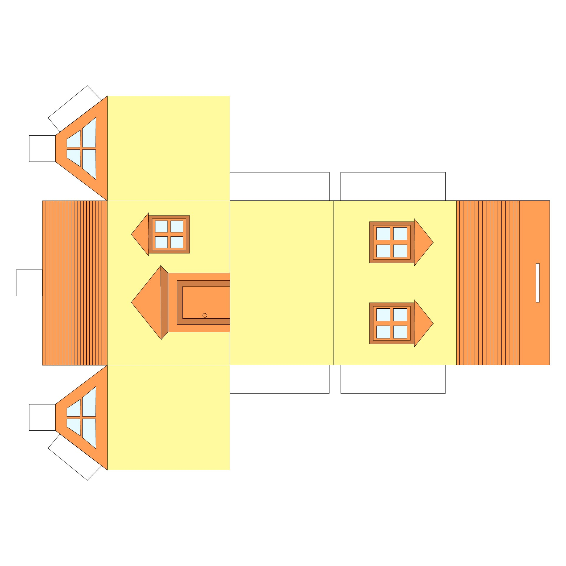 Easy Paper Houses Free Printable Pattern