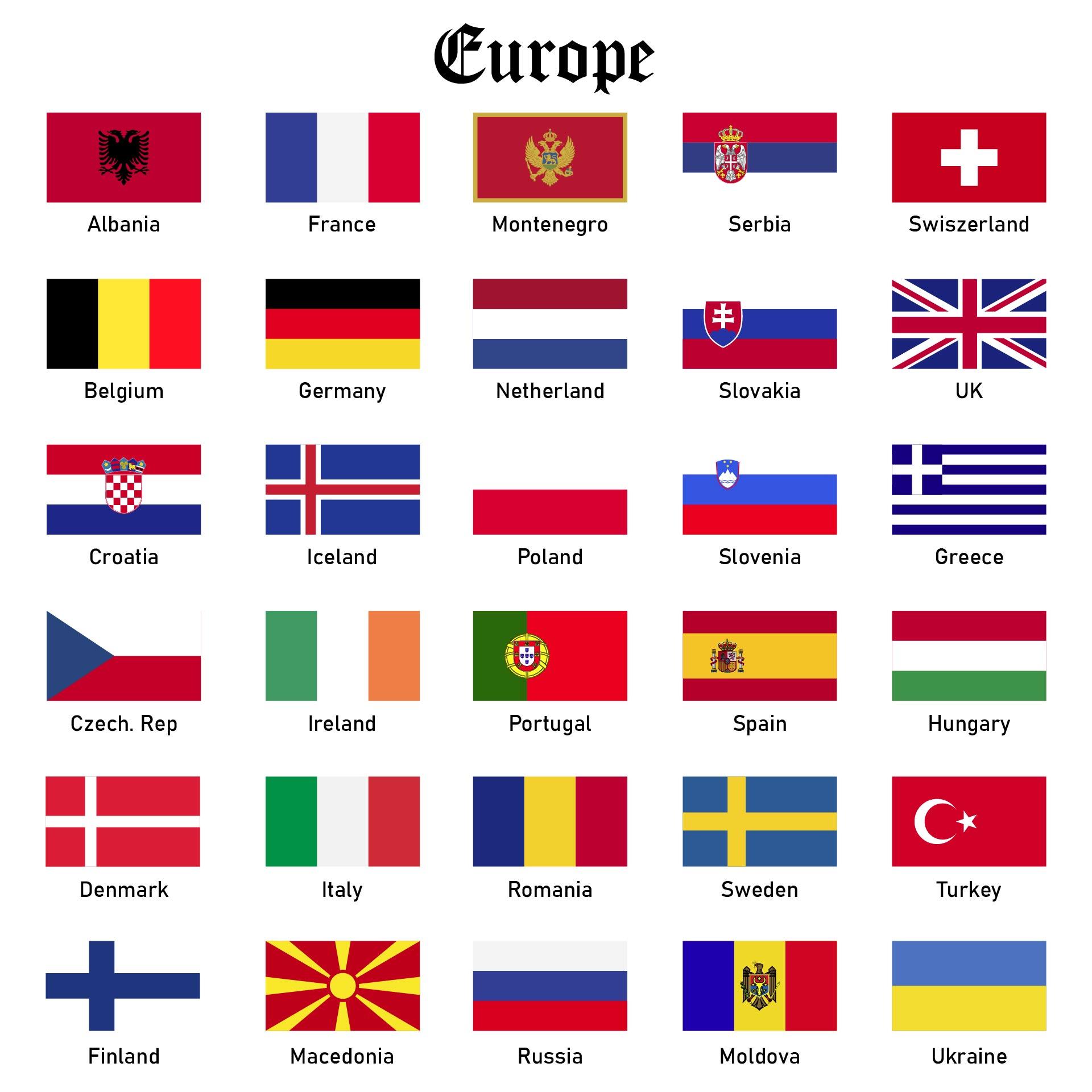 Europe Country Flags Digital Flag Printable