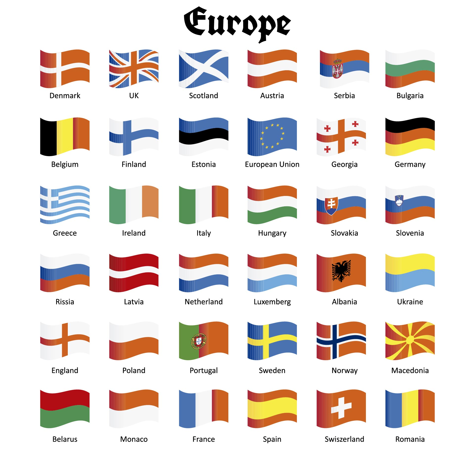 Free Art Print Of List Of All European Country Flags