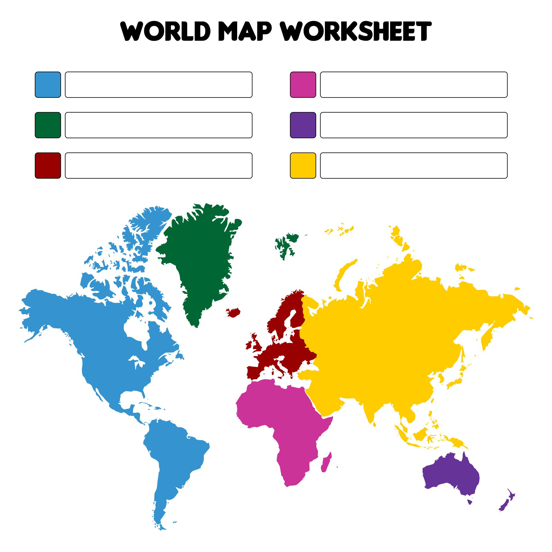 Free Printable Blank World Map Worksheet