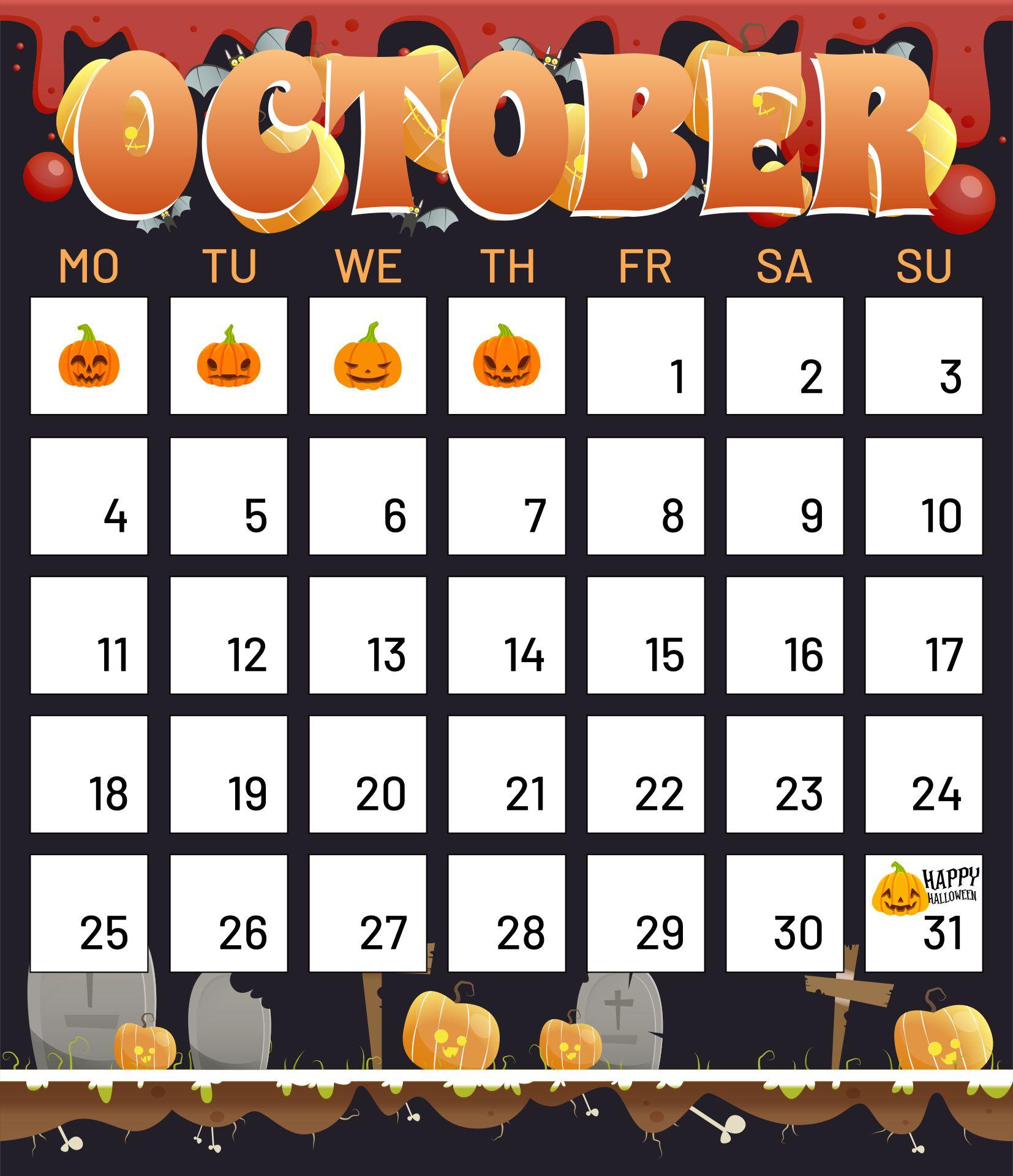 Free Printable Halloween October Calendars To Print With  Halloween Borders And Halloween Backgrounds