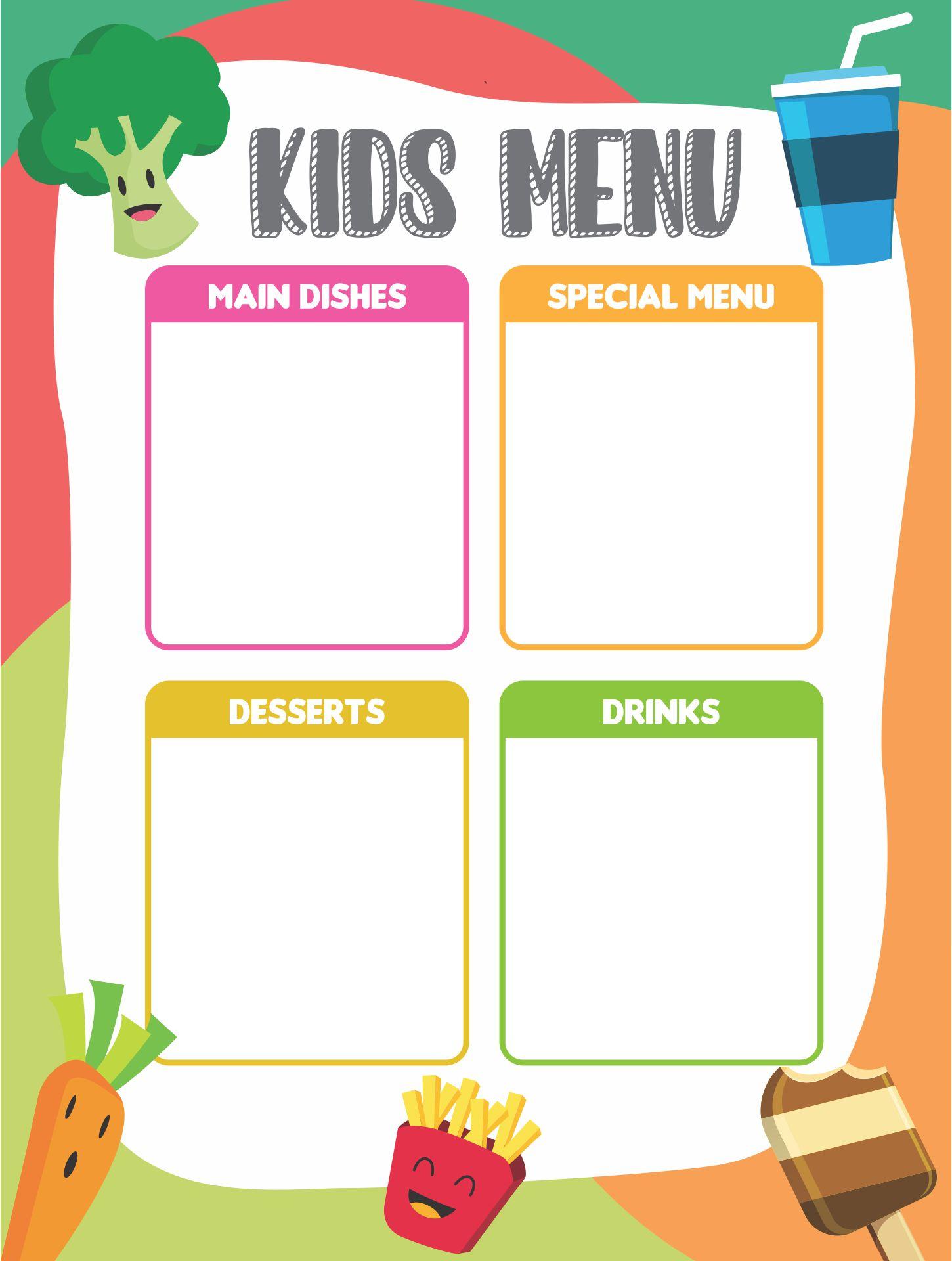 Printable Menu Template For Kids