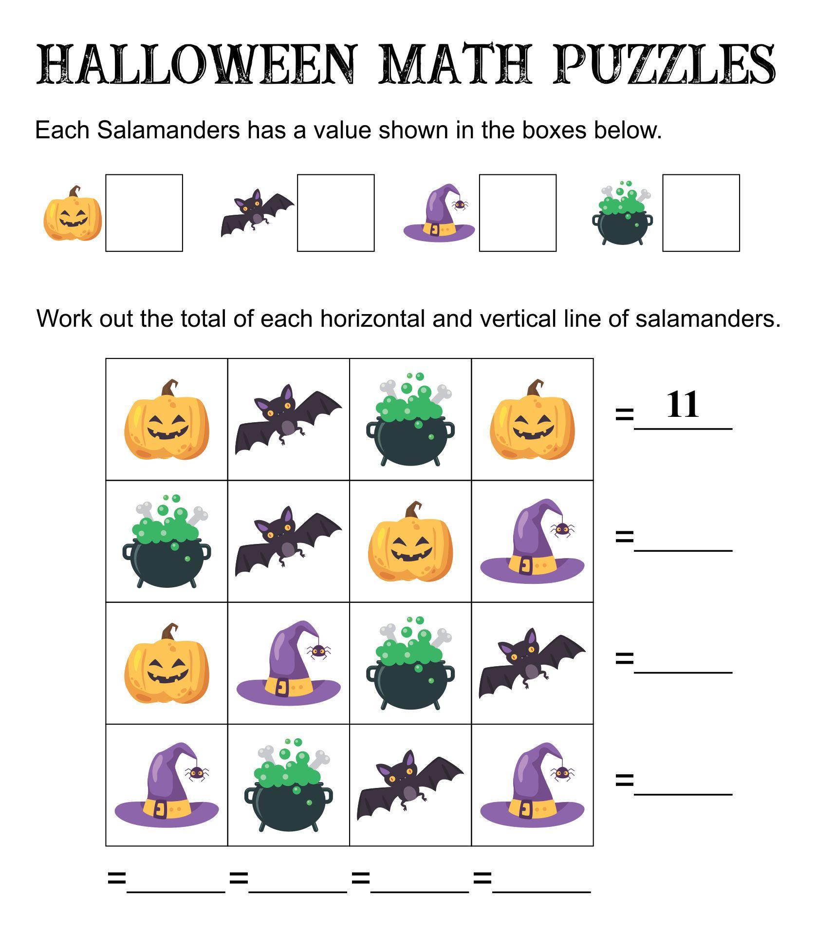 Halloween Math Logic Puzzles Printable