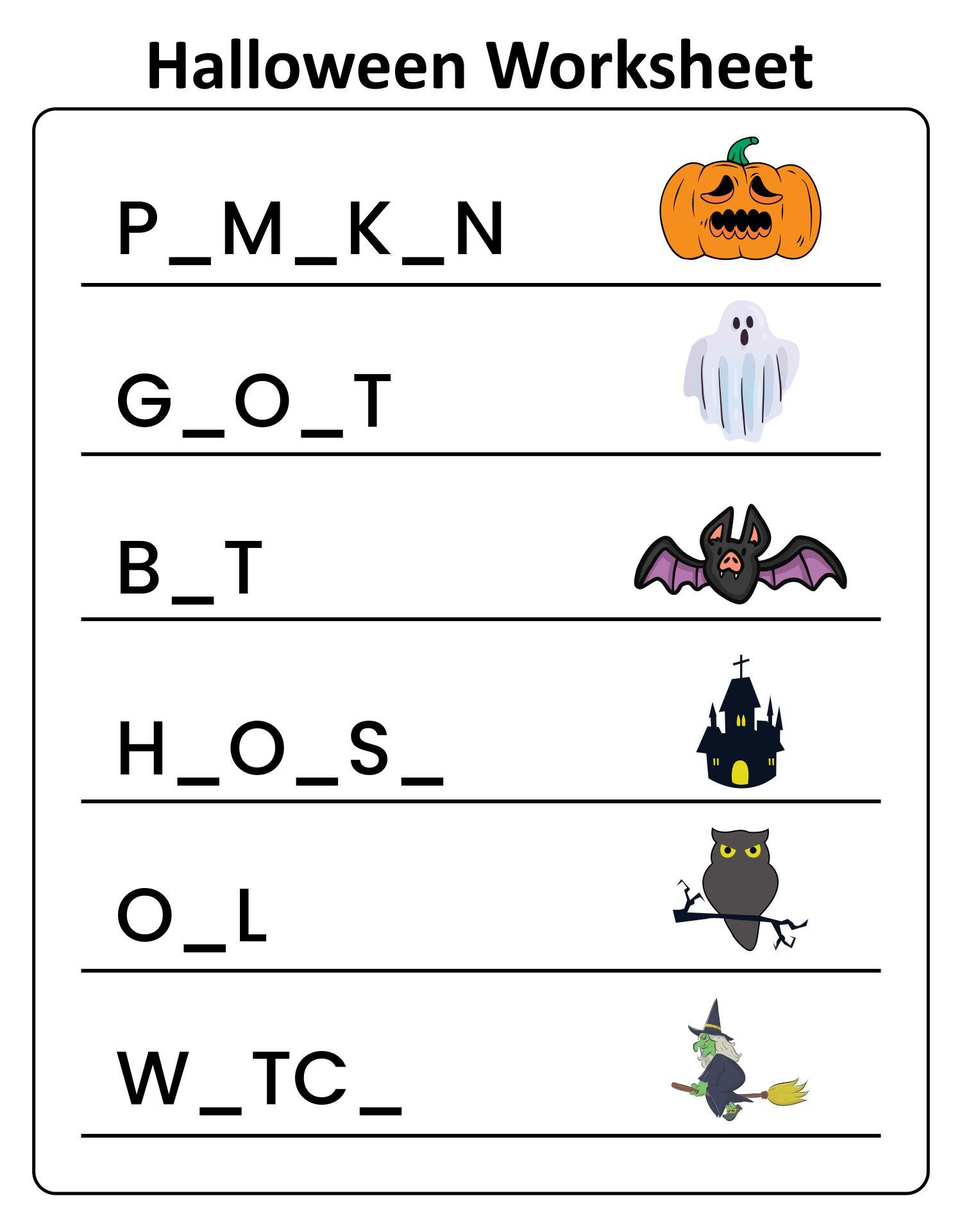 Halloween Phonics Worksheet Pre-k