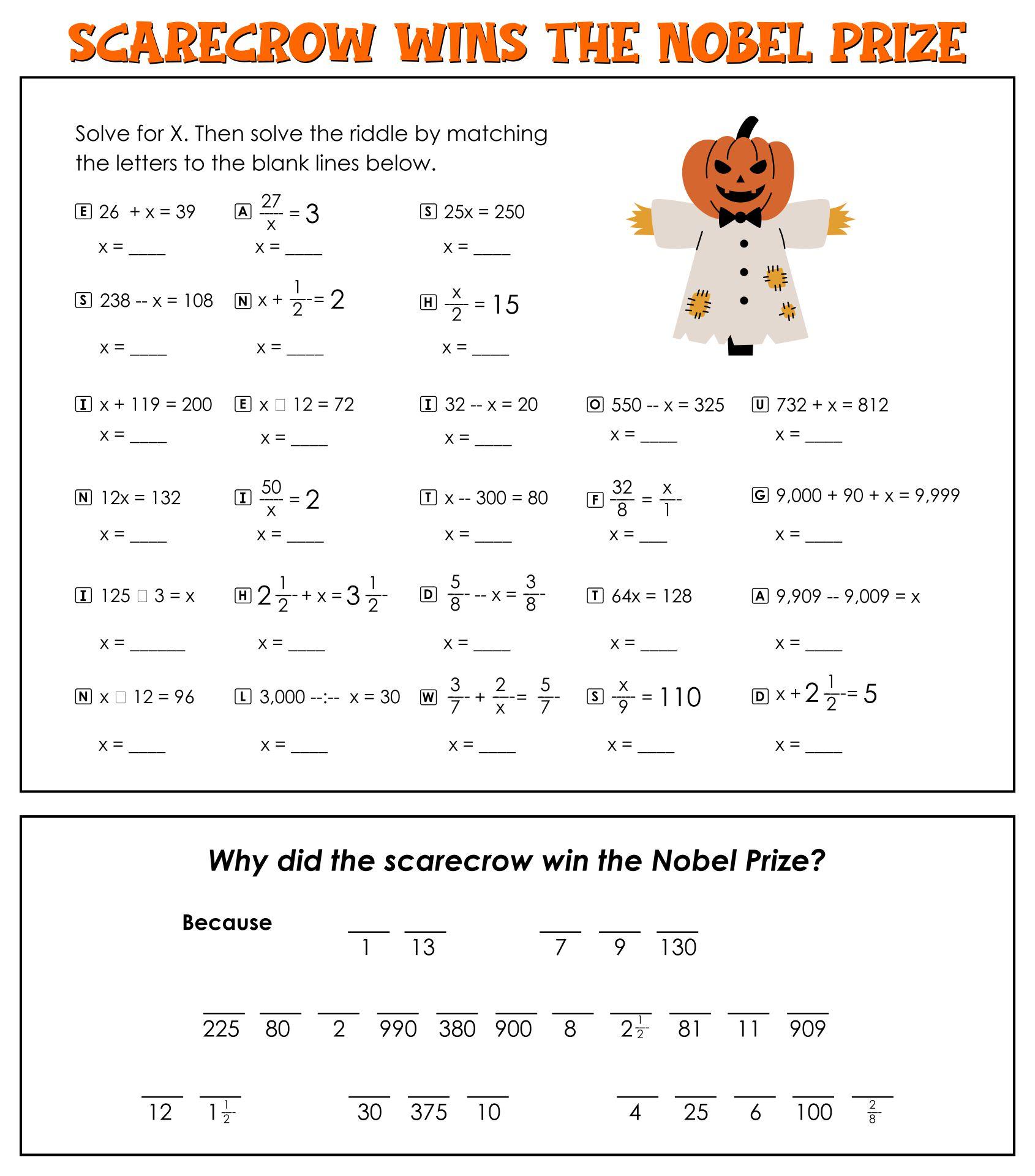 Halloween Printables Sixth Grade Common Core Math And Literacy