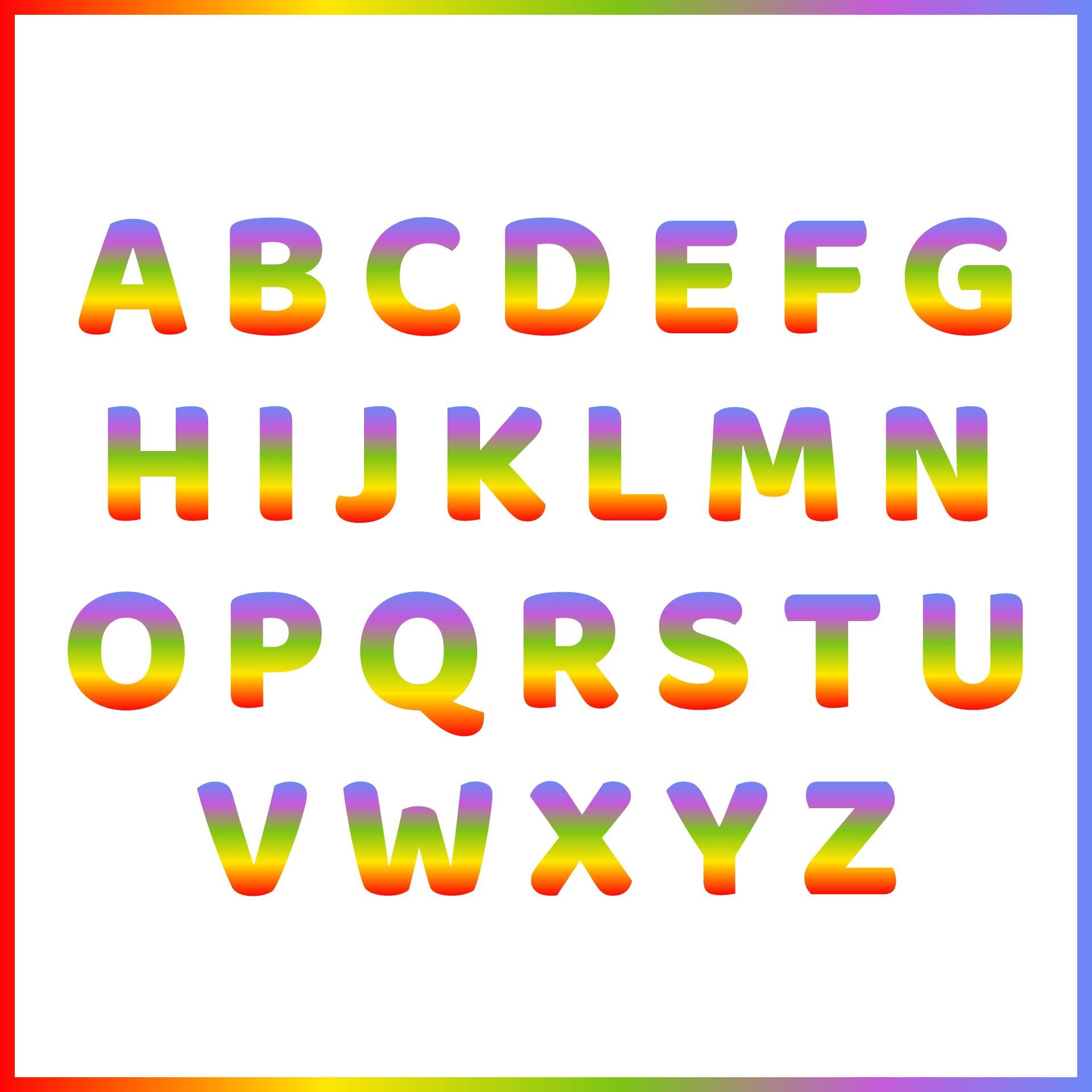 Large Rainbow Alphabet Printable Letters