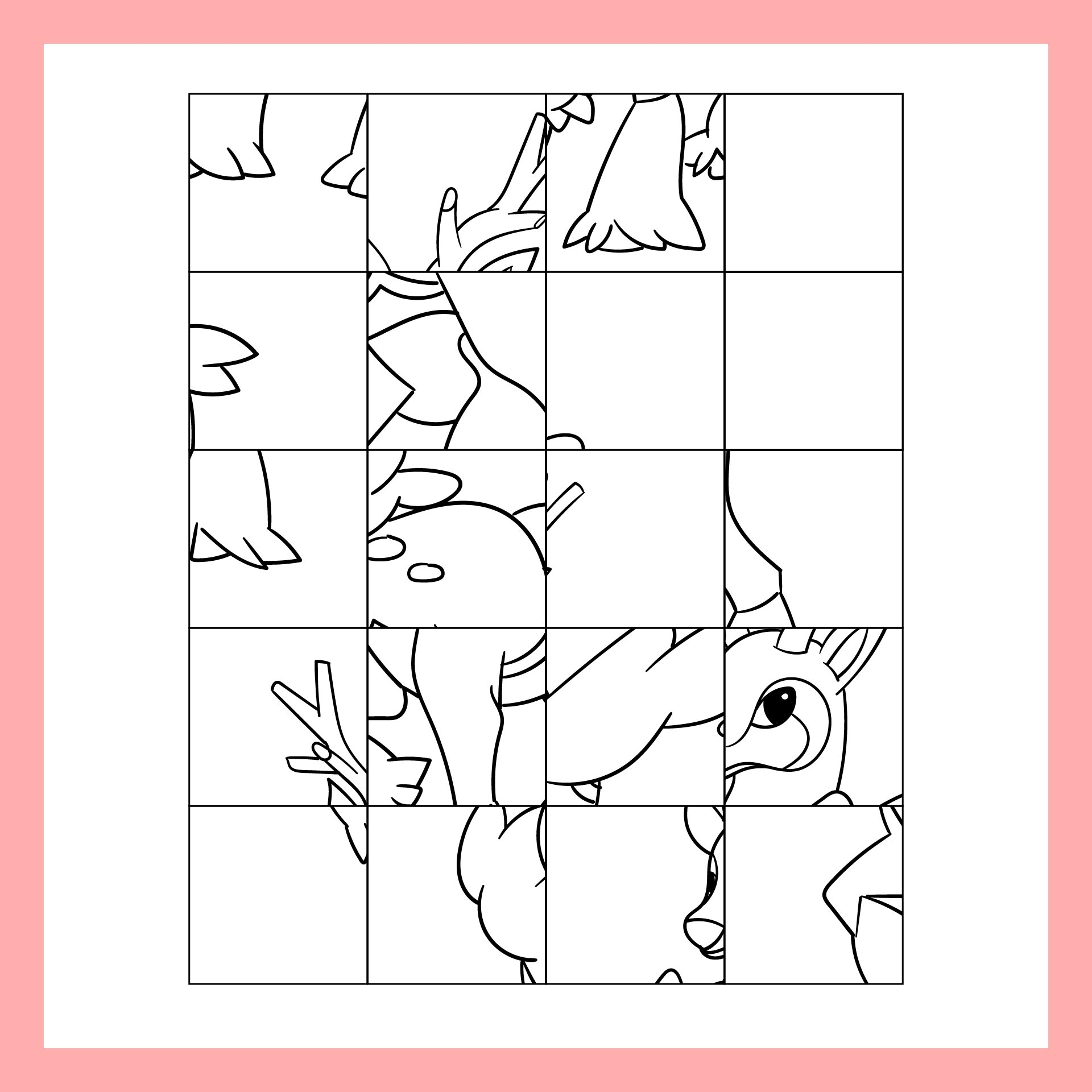 Mystery Grid Drawing Deer